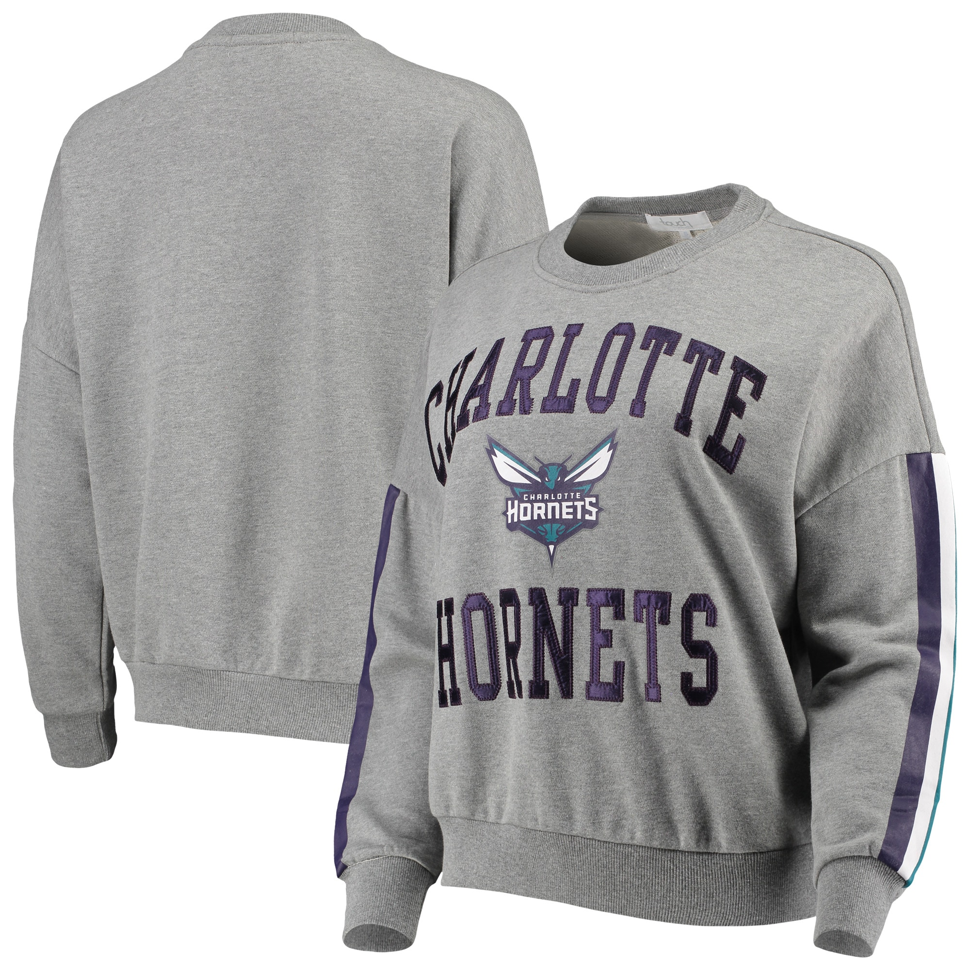 Charlotte Hornets G-III 4Her by Carl Banks Women's Slouchy Rookie French Terry Pullover Sweatshirt - Gray