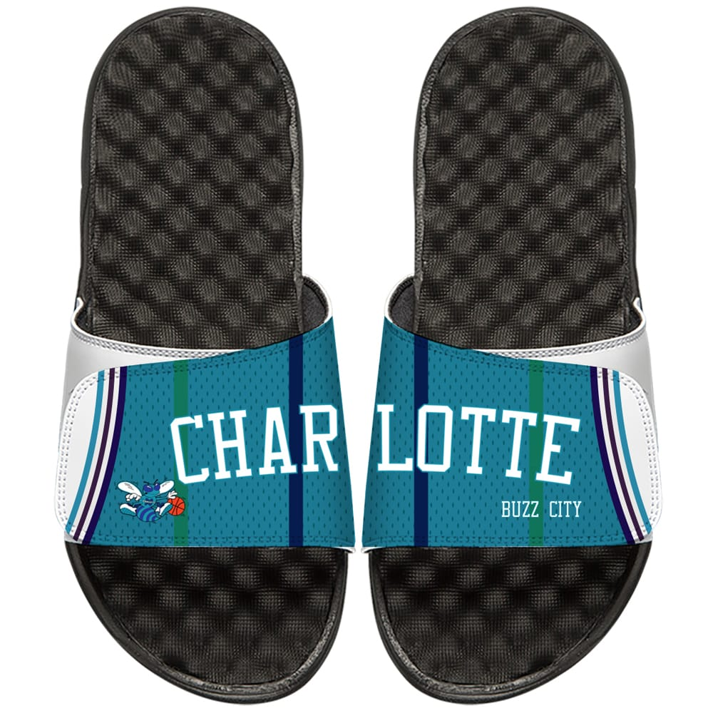 Charlotte Hornets ISlide NBA Hardwood Classics Jersey Slide Sandals - Teal/Black