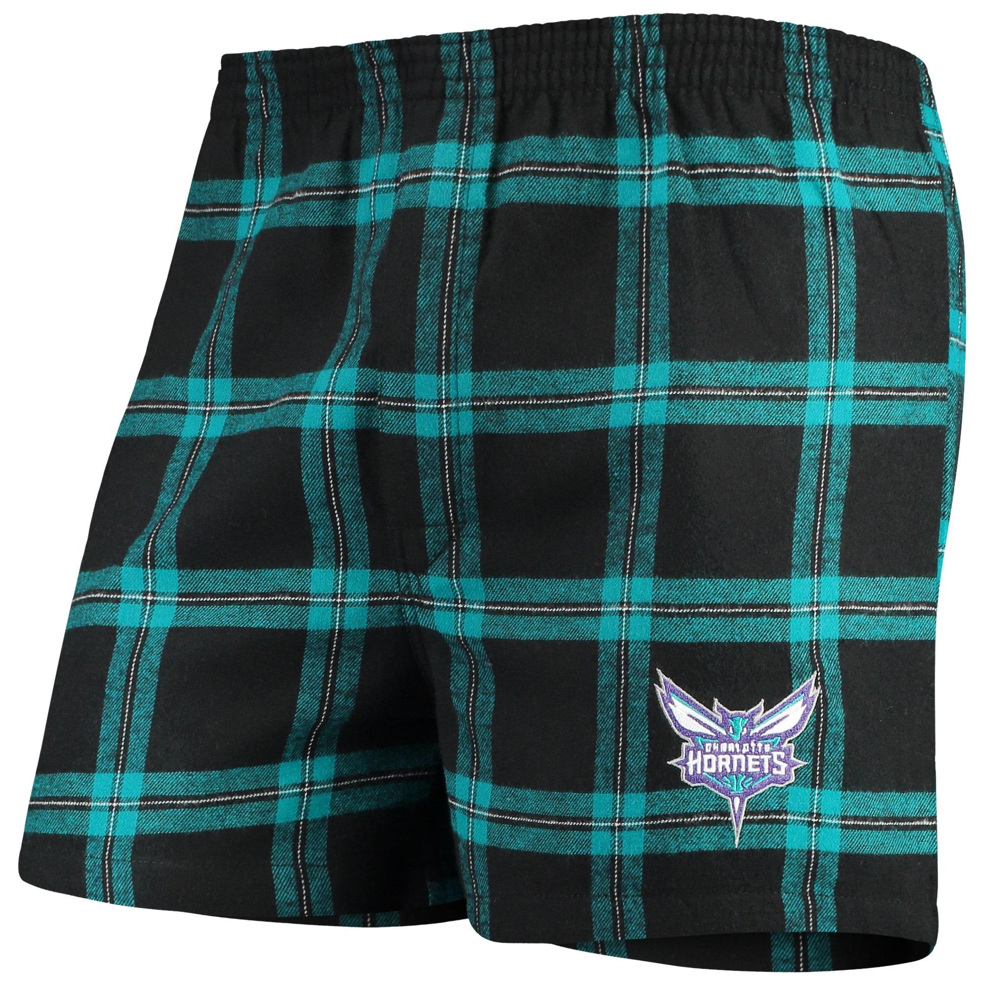 Charlotte Hornets Concepts Sport Homestretch Flannel Boxer Shorts - Black