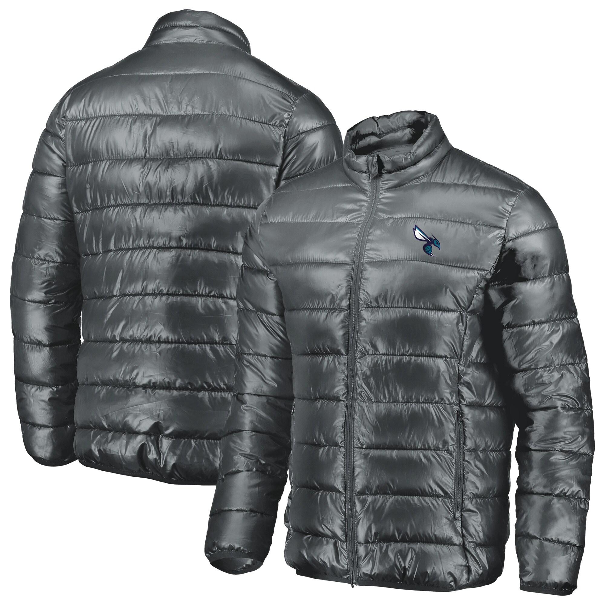 Charlotte Hornets Fanatics Branded Heater Puffer Full-Zip Jacket - Gray
