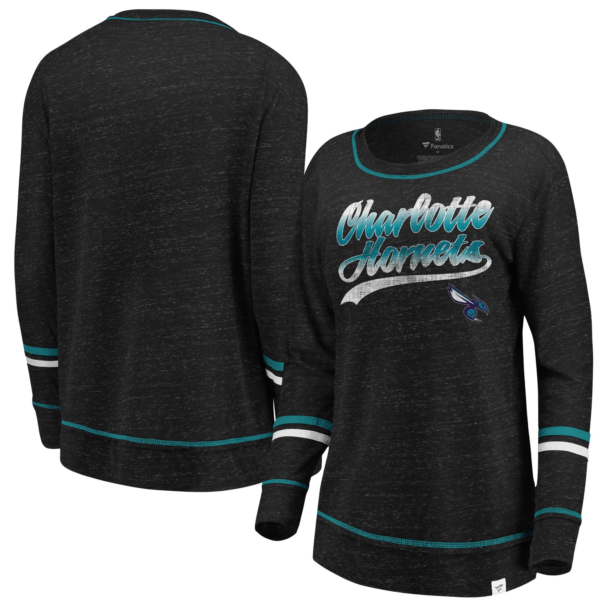 Charlotte Hornets Fanatics Branded Women's Dreams Sleeve Stripe Speckle Long Sleeve T-Shirt - Black/Aqua