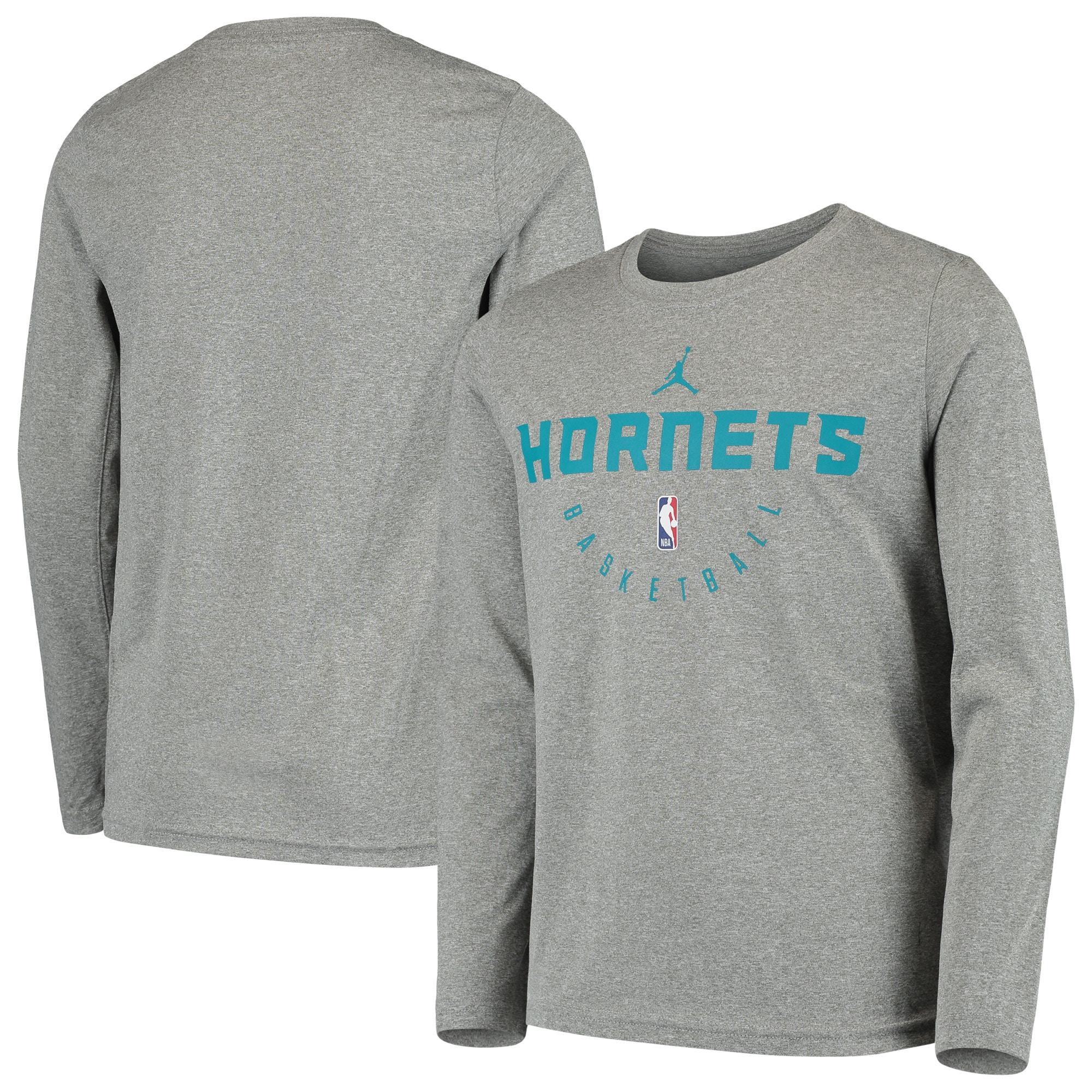 Charlotte Hornets Jordan Brand Youth Practice Logo Legend Long Sleeve Performance T-Shirt - Heathered Gray