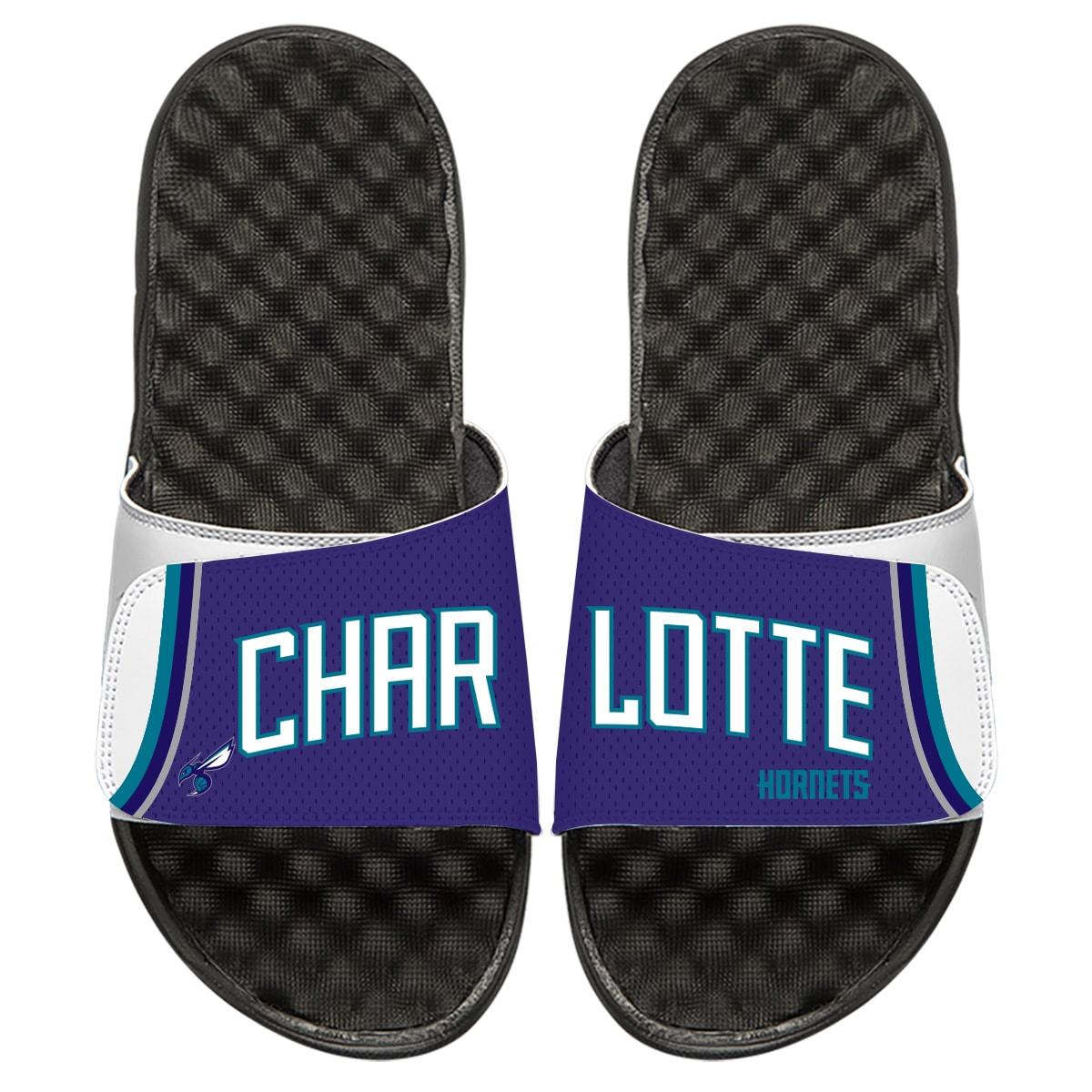 Charlotte Hornets ISlide Youth Statement Jersey Split Slide Sandals - White