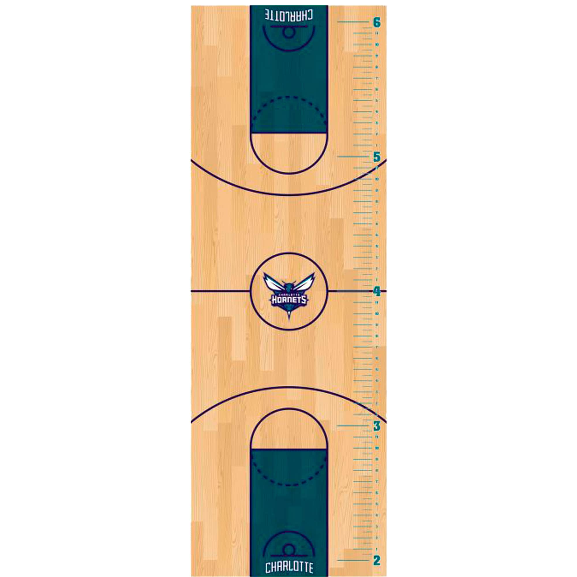 Charlotte Hornets Fathead Basketball Court Large Removable Growth Chart