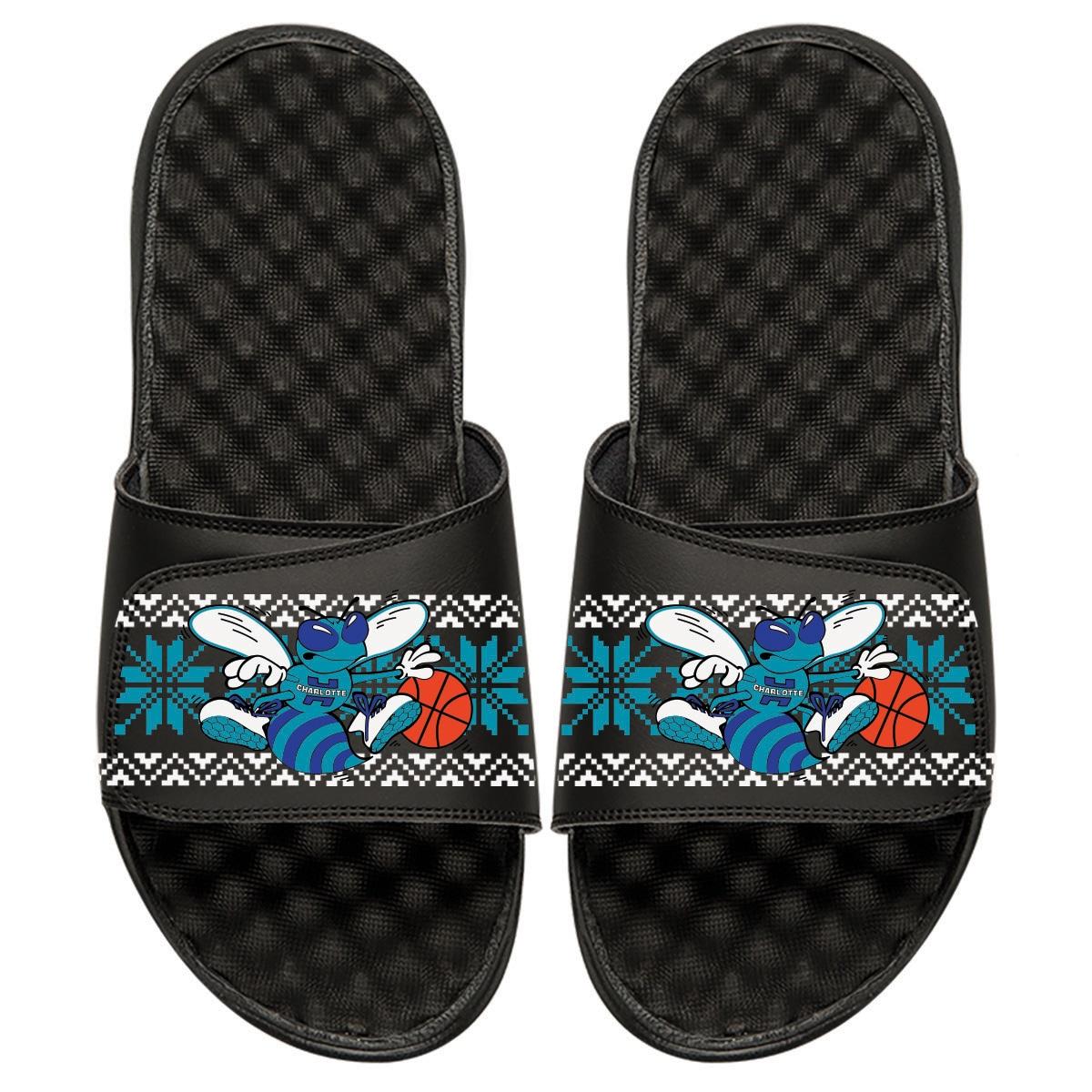 Charlotte Hornets ISlide Youth Ugly Sweater Slide Sandals - Black