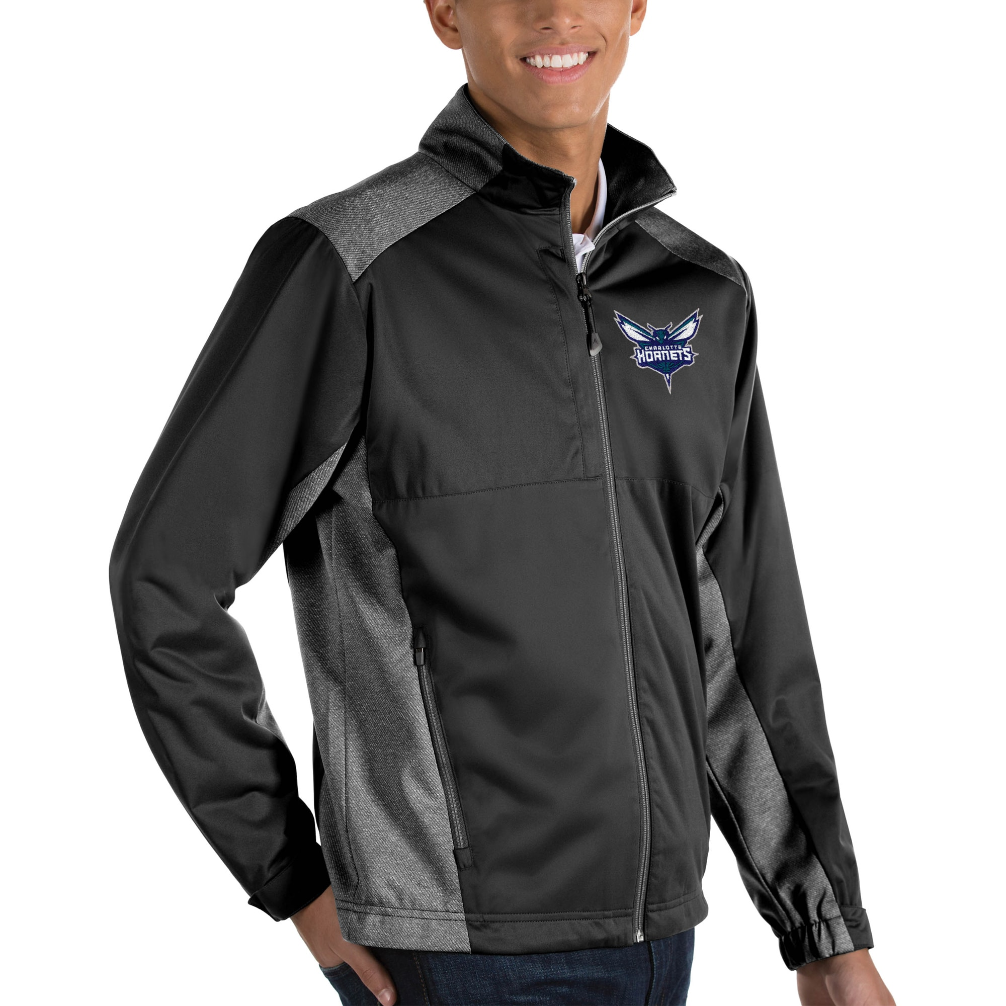 Charlotte Hornets Antigua Revolve Big & Tall Full-Zip Jacket - Black