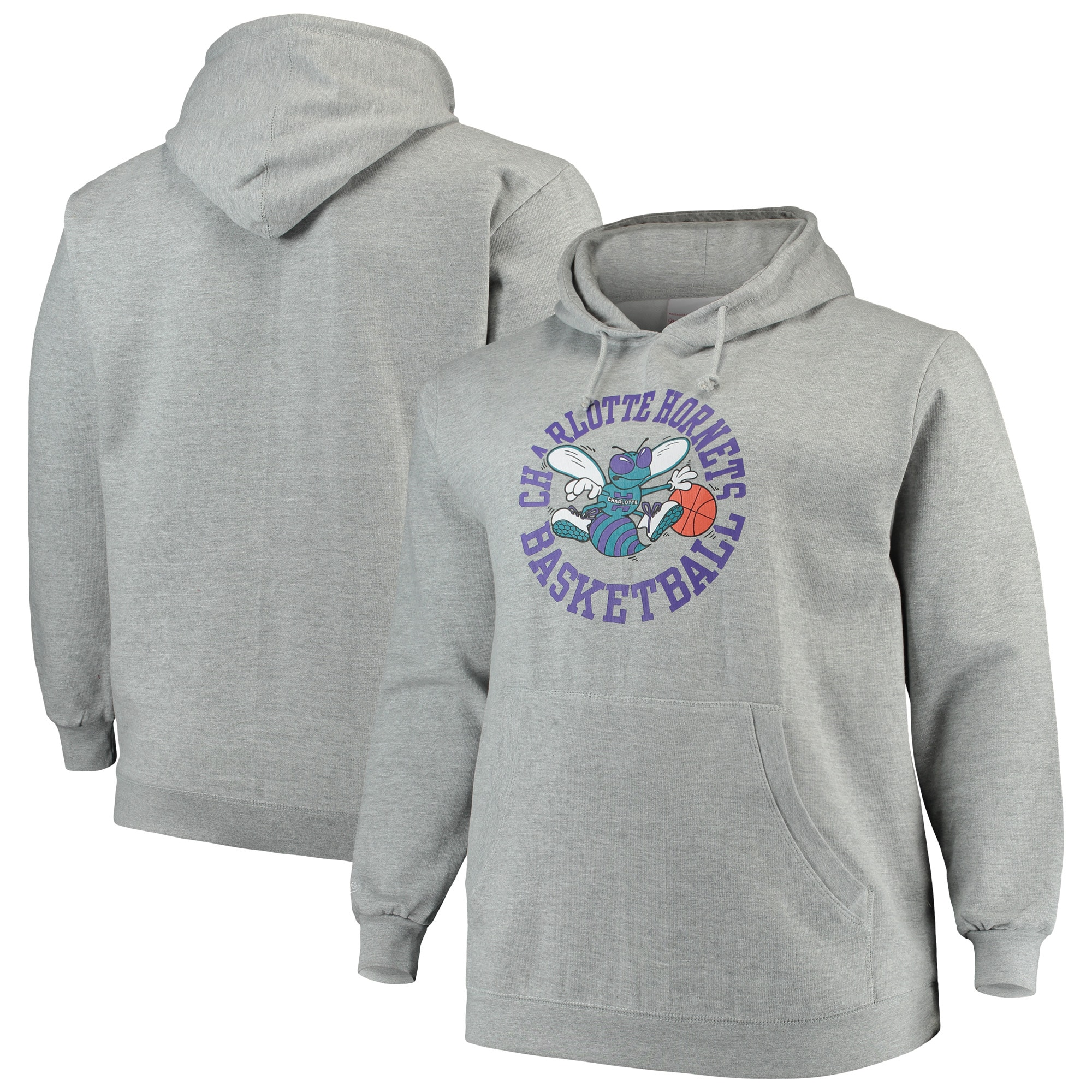 Charlotte Hornets Mitchell & Ness Big & Tall Throwback Logo Pullover Hoodie - Heathered Gray
