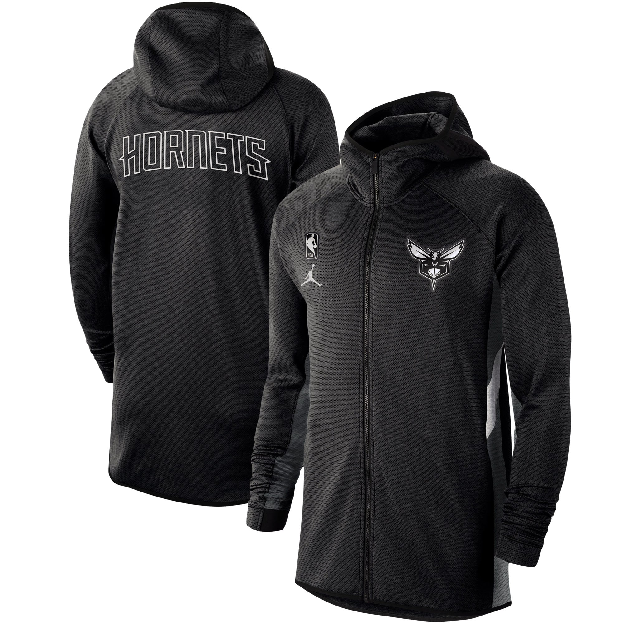 Charlotte Hornets Nike Authentic Showtime Therma Flex Performance Full-Zip Hoodie - Heathered Black