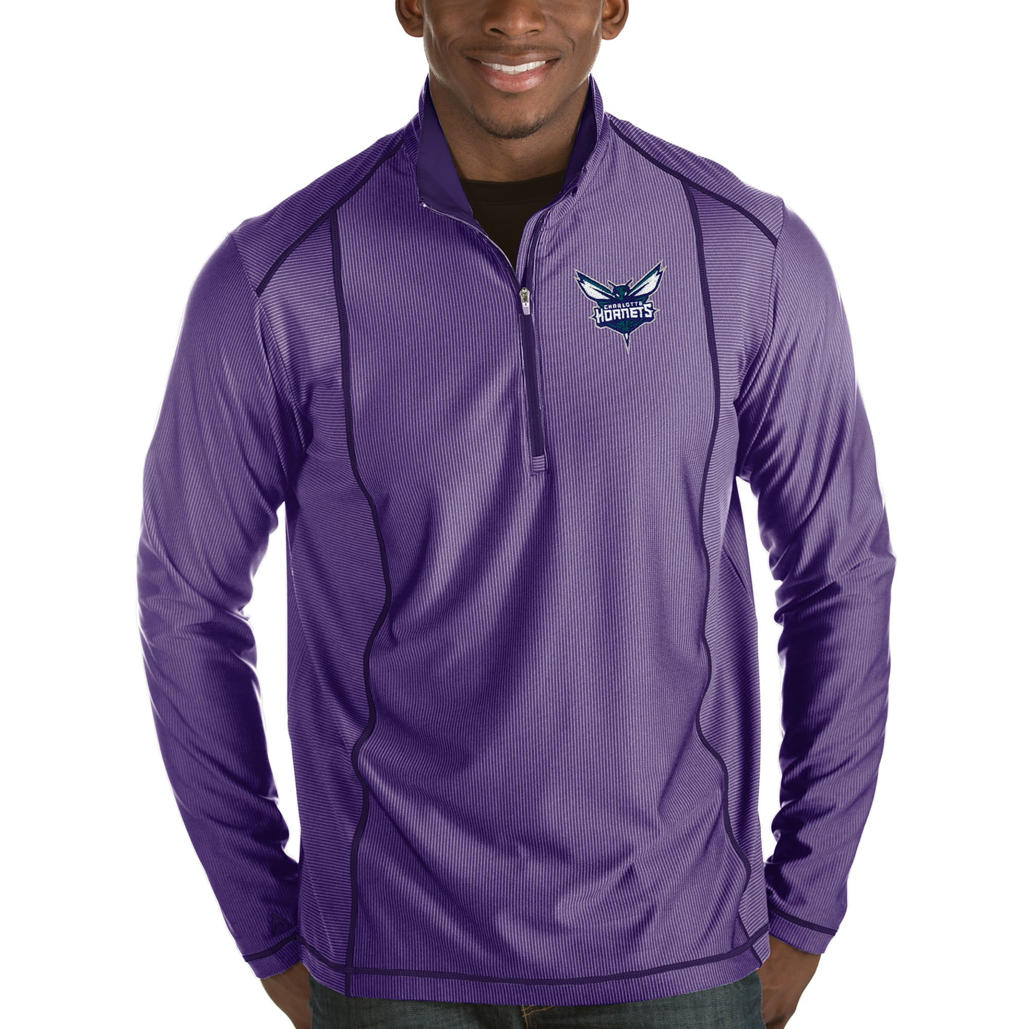 Charlotte Hornets Antigua Tempo Half-Zip Pullover Jacket - Purple