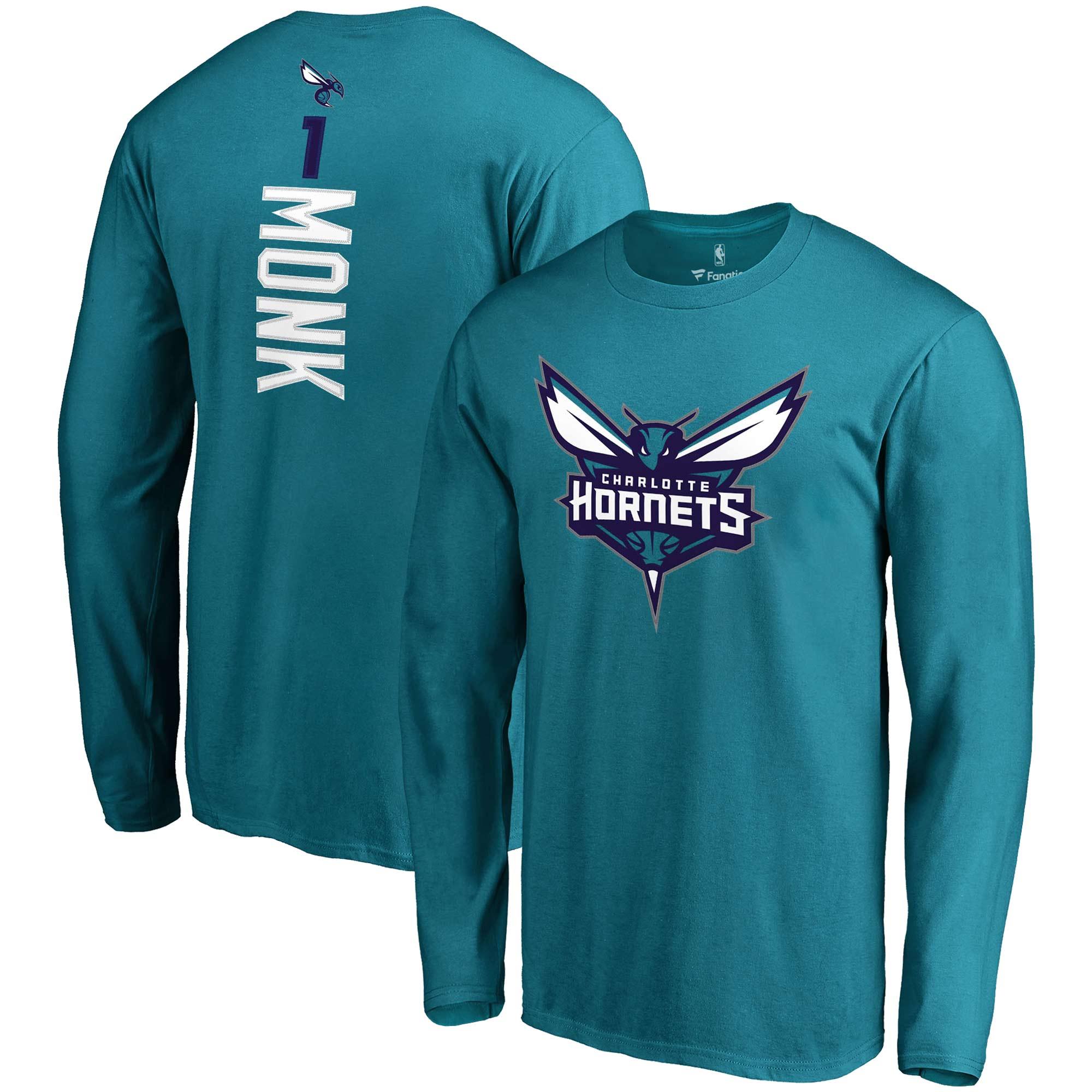 Malik Monk Charlotte Hornets Fanatics Branded Backer Name & Number Long Sleeve T-Shirt - Teal