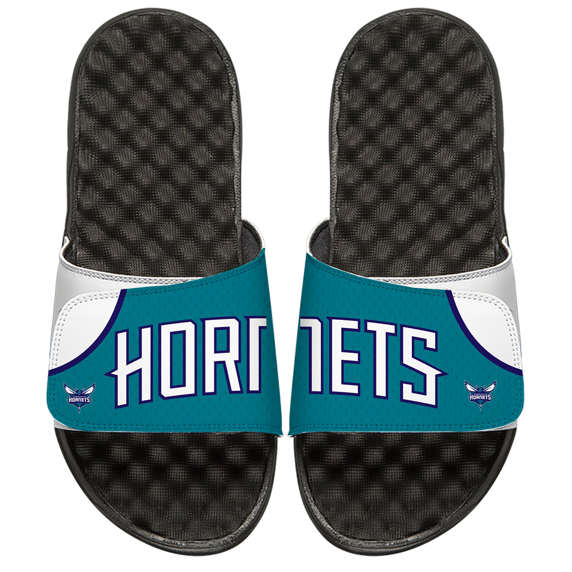 Charlotte Hornets ISlide Away Jersey Split Slide Sandals - White