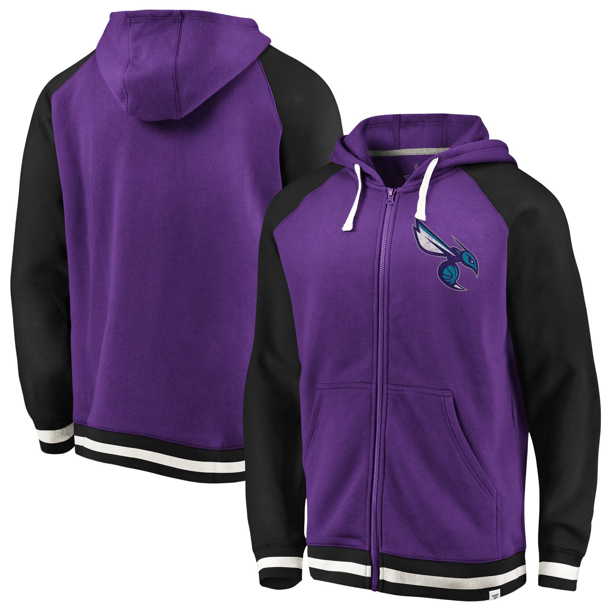 Charlotte Hornets Fanatics Branded True Classic Vintage Retro Stripe Fleece Full-Zip Hoodie - Purple/Black