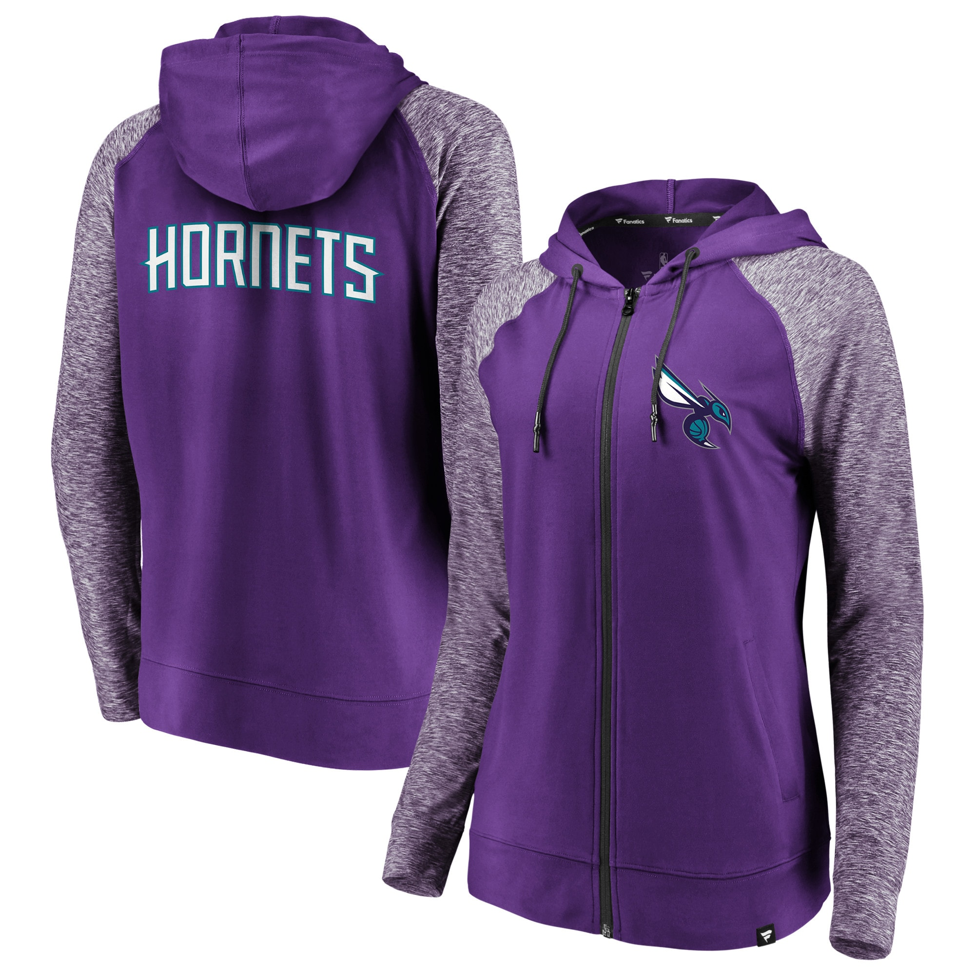 Charlotte Hornets Fanatics Branded Women's Made to Move Static Raglan Performance Full-Zip Hoodie - Purple/Heathered Purple