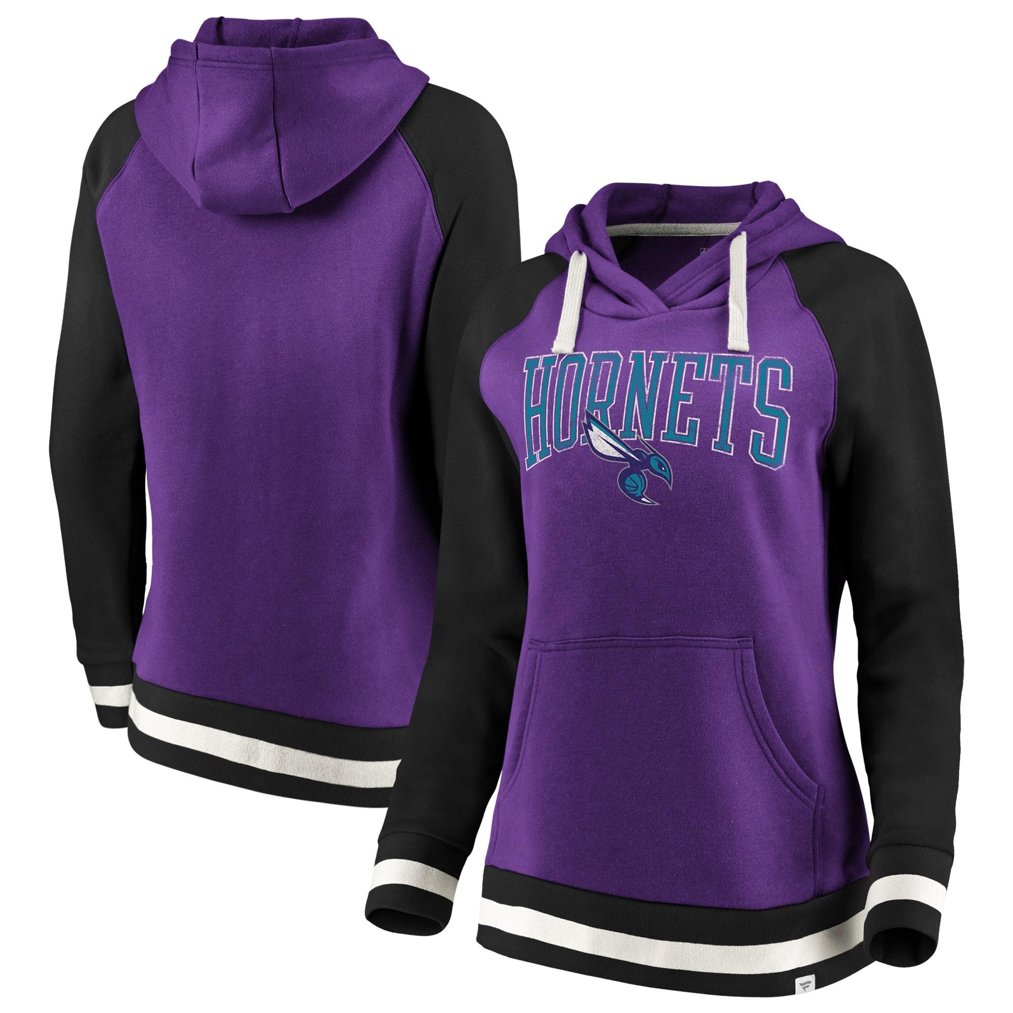 Charlotte Hornets Fanatics Branded Women's True Classic Vintage Retro Stripe Raglan Fleece Pullover Hoodie - Purple/Black