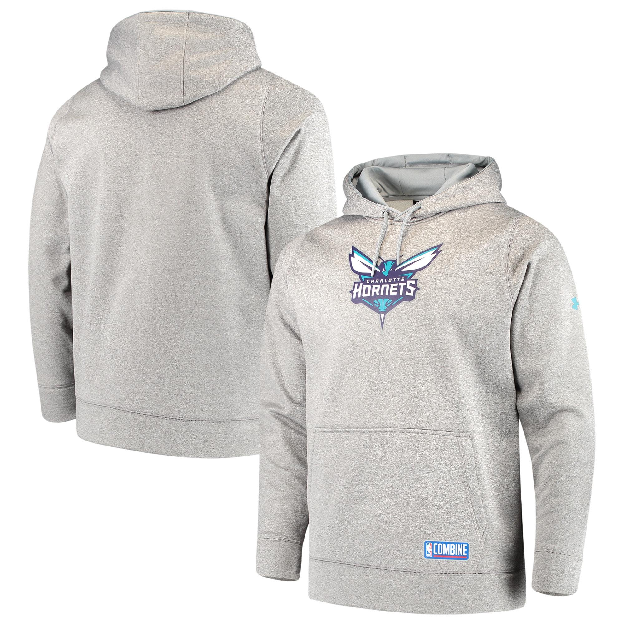 Charlotte Hornets Under Armour Team Logo Performance Fleece Pullover Hoodie - Gray