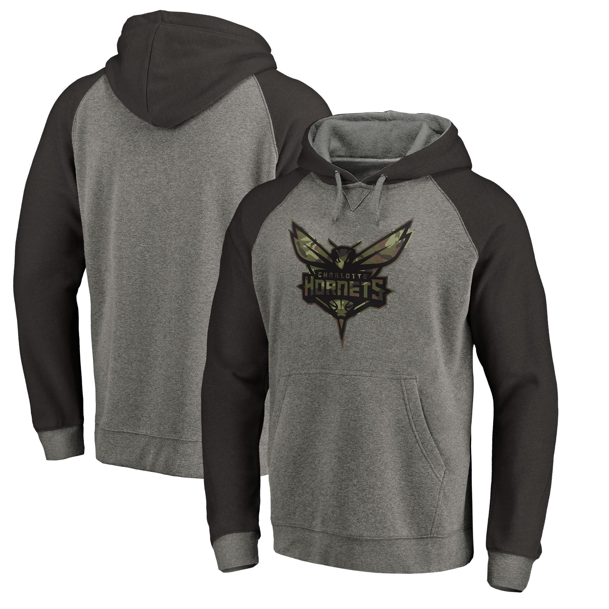 Charlotte Hornets Fanatics Branded Prestige Camo Tri-Blend Pullover Hoodie - Heathered Gray