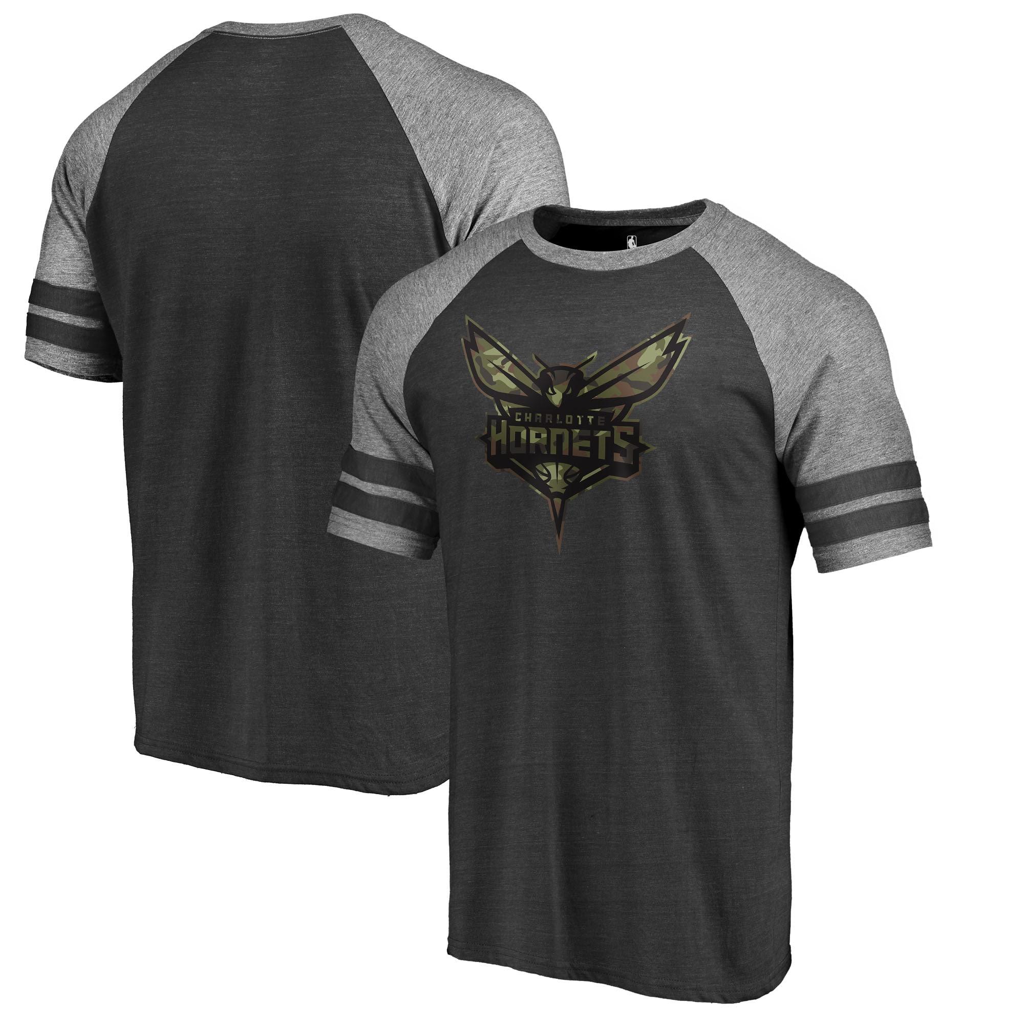 Charlotte Hornets Fanatics Branded Prestige Camo 2-Stripe Raglan T-Shirt - Black