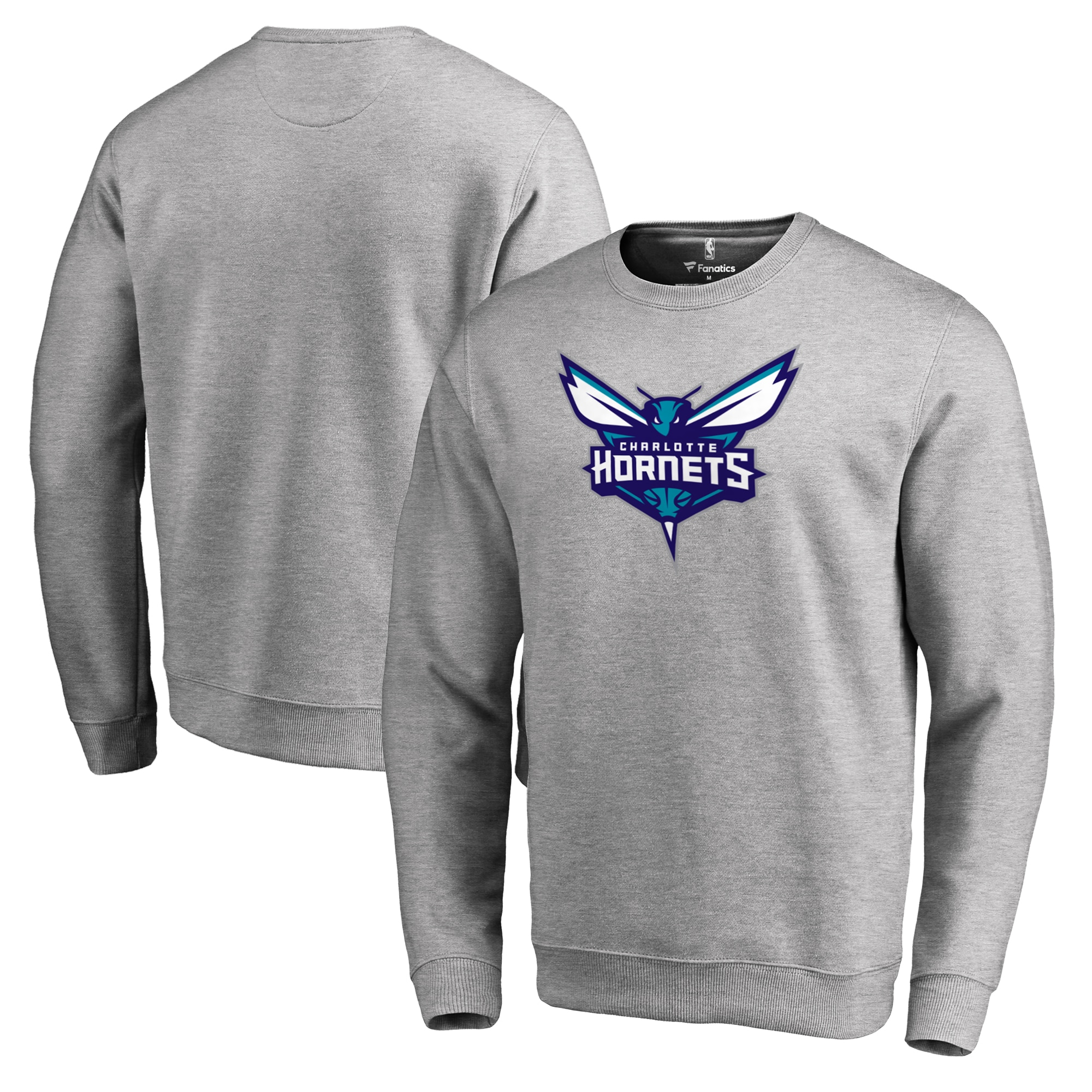 Charlotte Hornets Fanatics Branded Primary Logo Sweatshirt - Heathered Gray