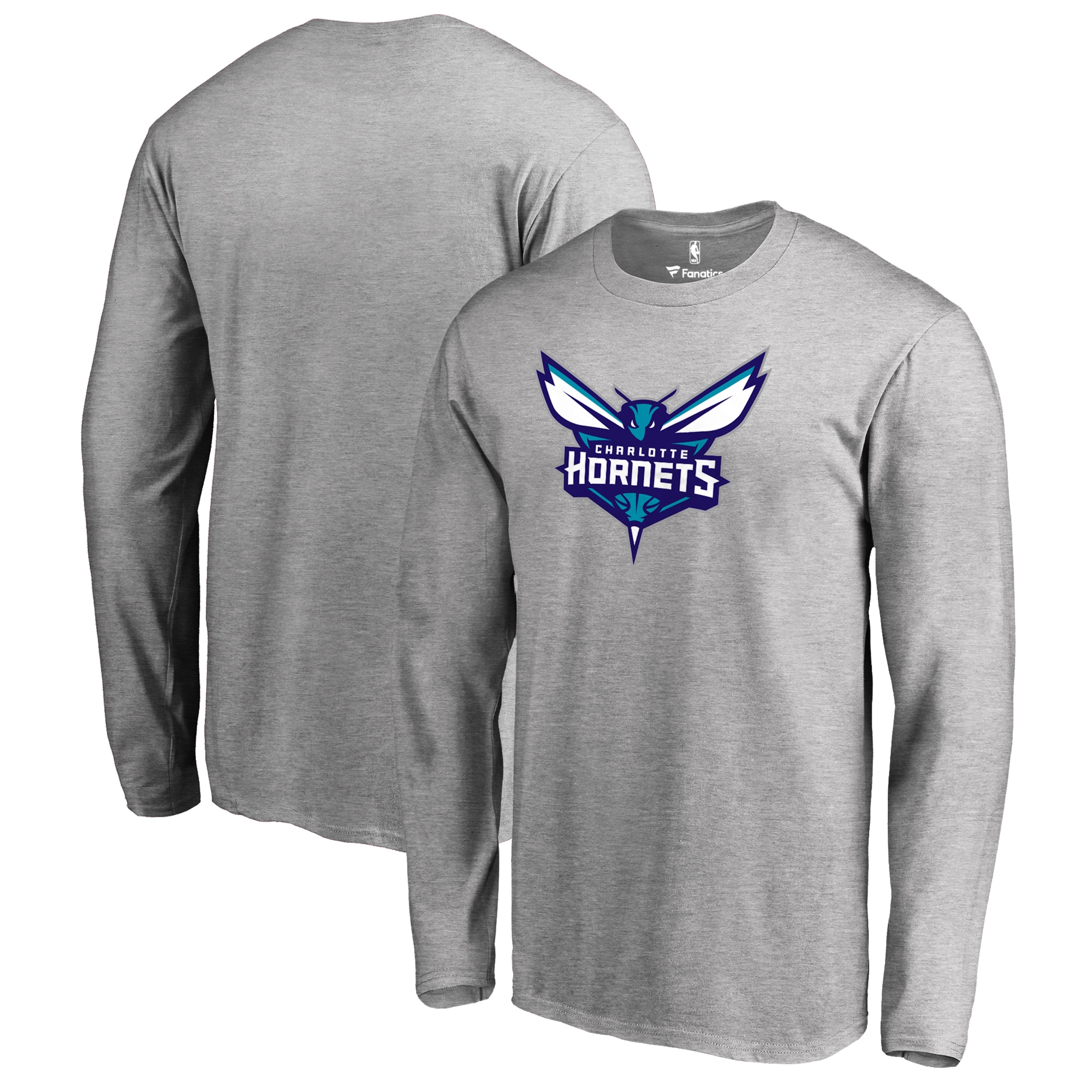 Charlotte Hornets Fanatics Branded Primary Logo Long Sleeve T-Shirt - Heather Gray