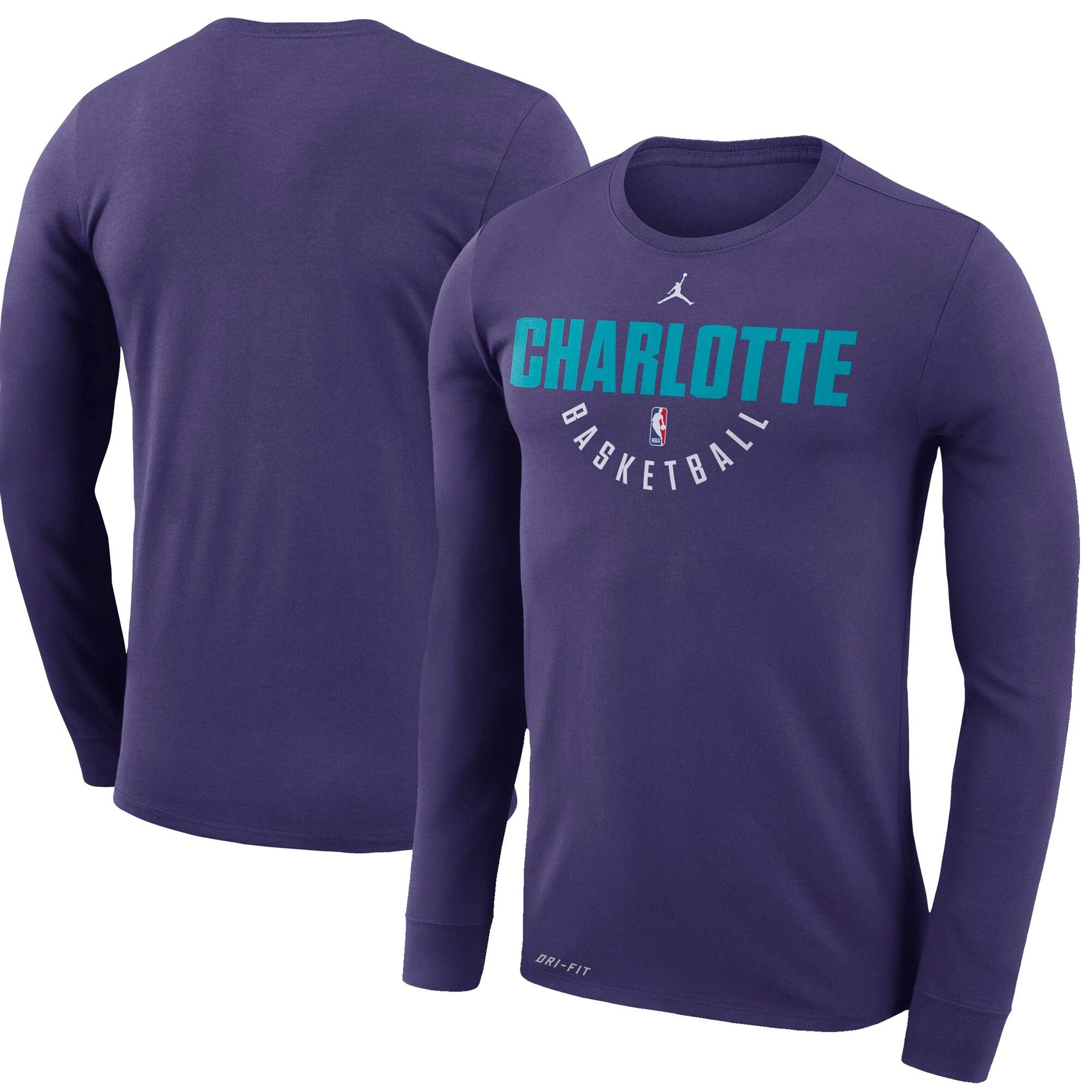 Charlotte Hornets Jordan Brand Practice Long Sleeve Performance T-Shirt - Purple