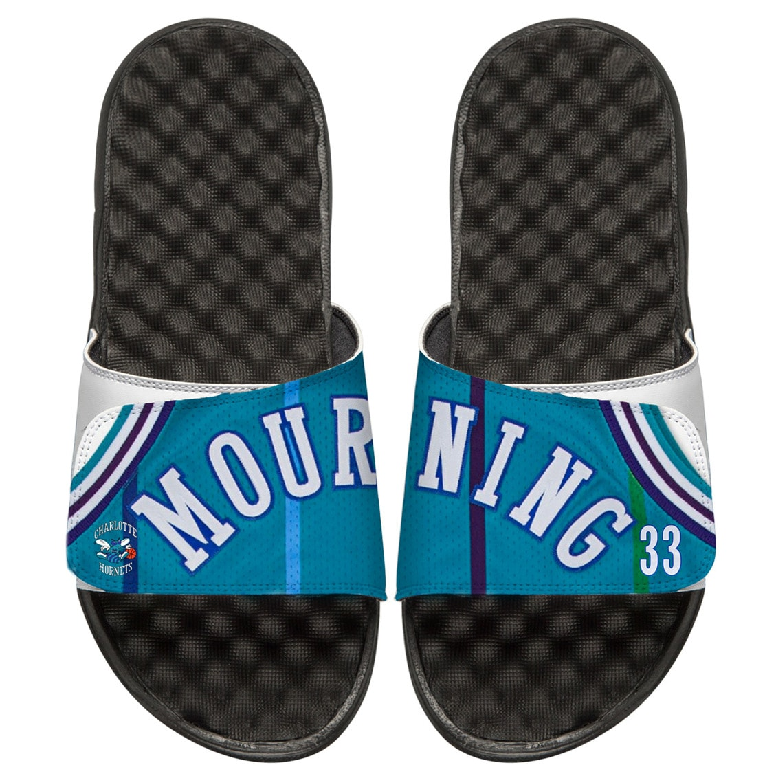 Alonzo Mourning Charlotte Hornets ISlide Youth Retro Jersey Slide Sandals