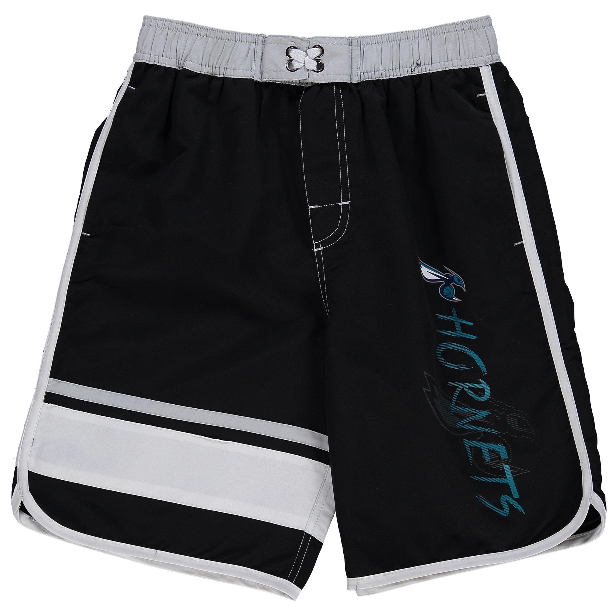 Charlotte Hornets Youth Color Block Swim Trunks - Black/White