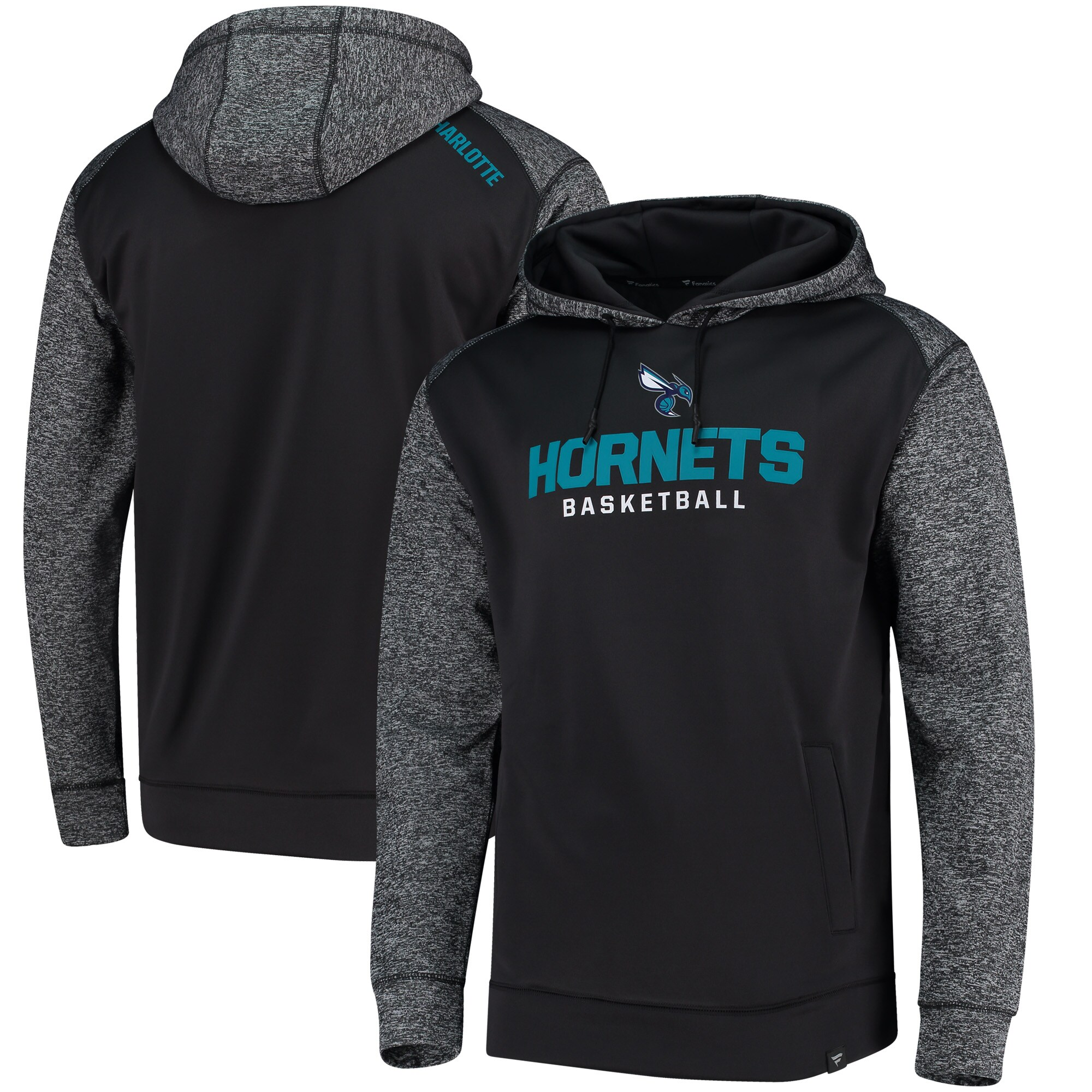 Charlotte Hornets Fanatics Branded Static Fleece Pullover Hoodie - Charcoal
