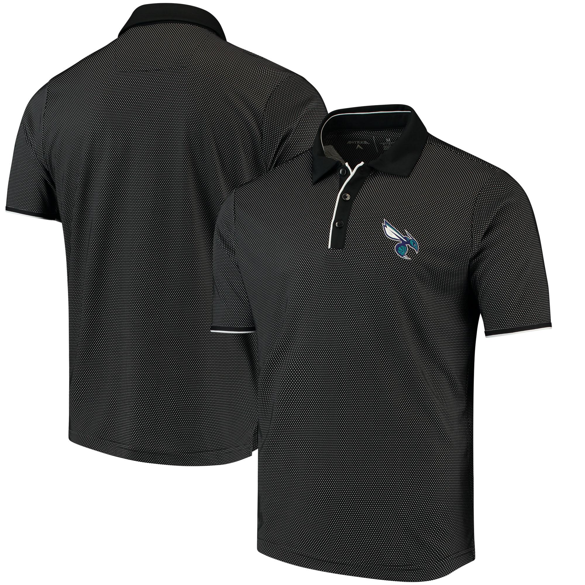 Charlotte Hornets Antigua Logo Draft Polo - Black/White