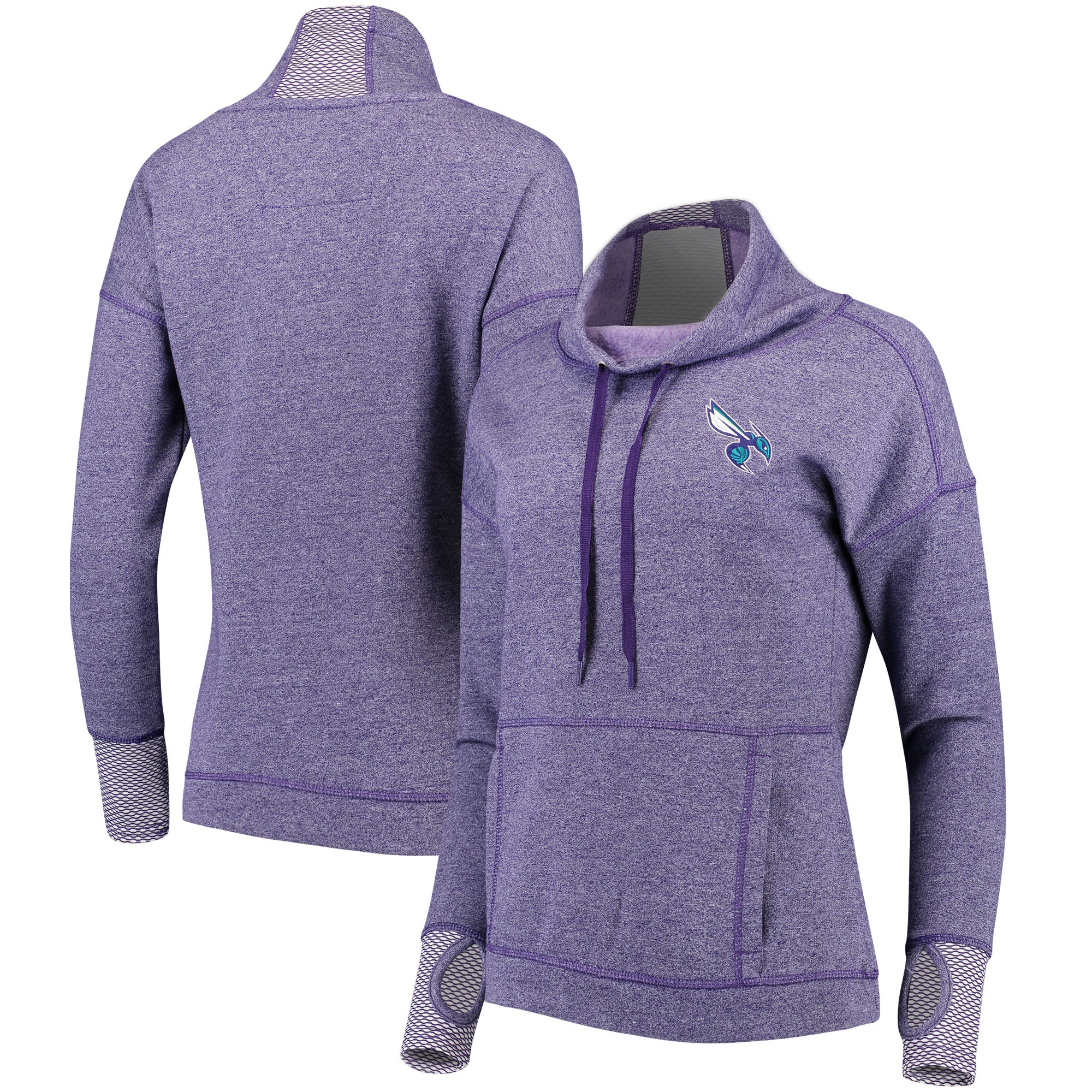 Charlotte Hornets Antigua Women's Snap Cowl Neck Pullover Sweatshirt - Heathered Purple