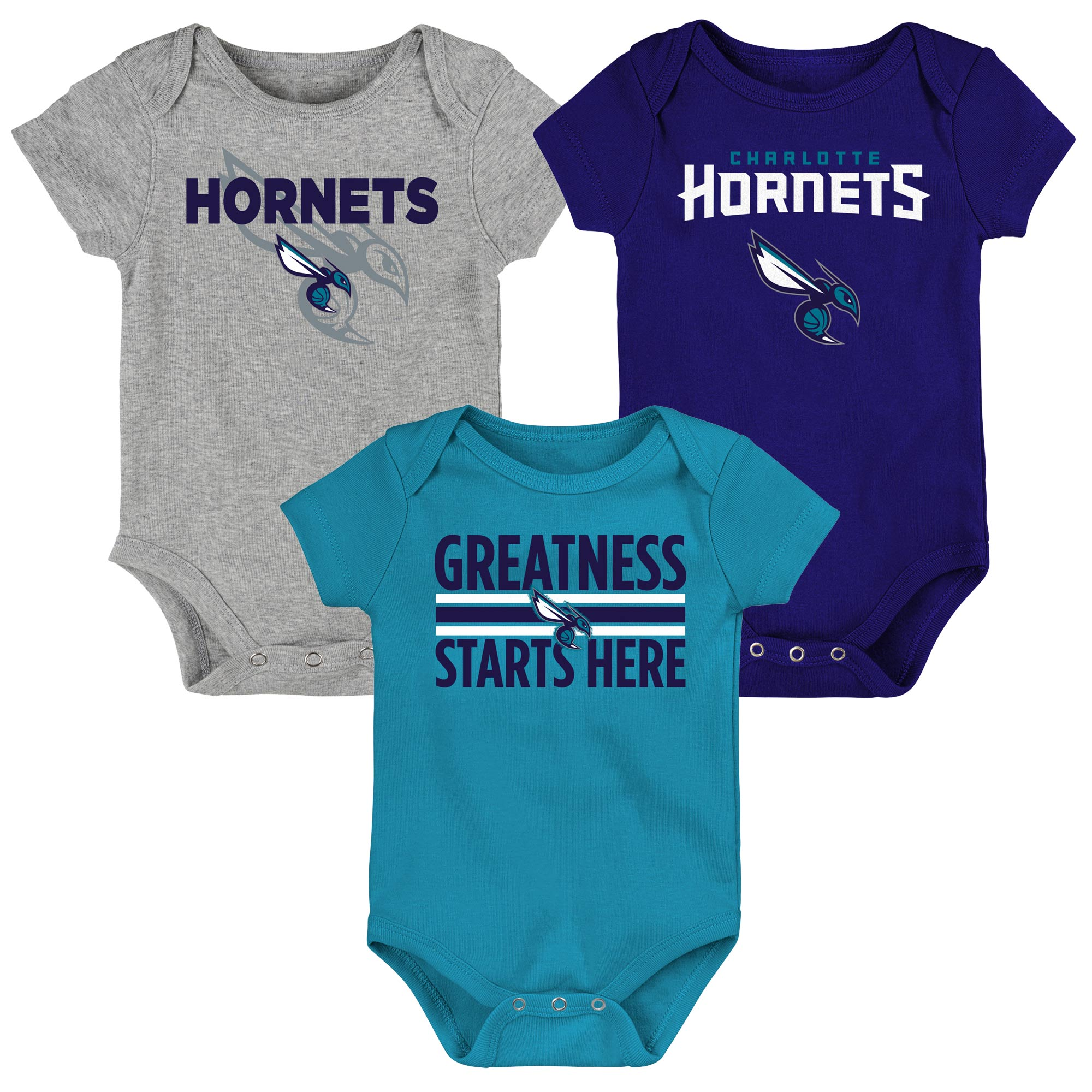 Charlotte Hornets Newborn & Infant Three-Pack Bodysuit Set - Purple/Teal/Gray