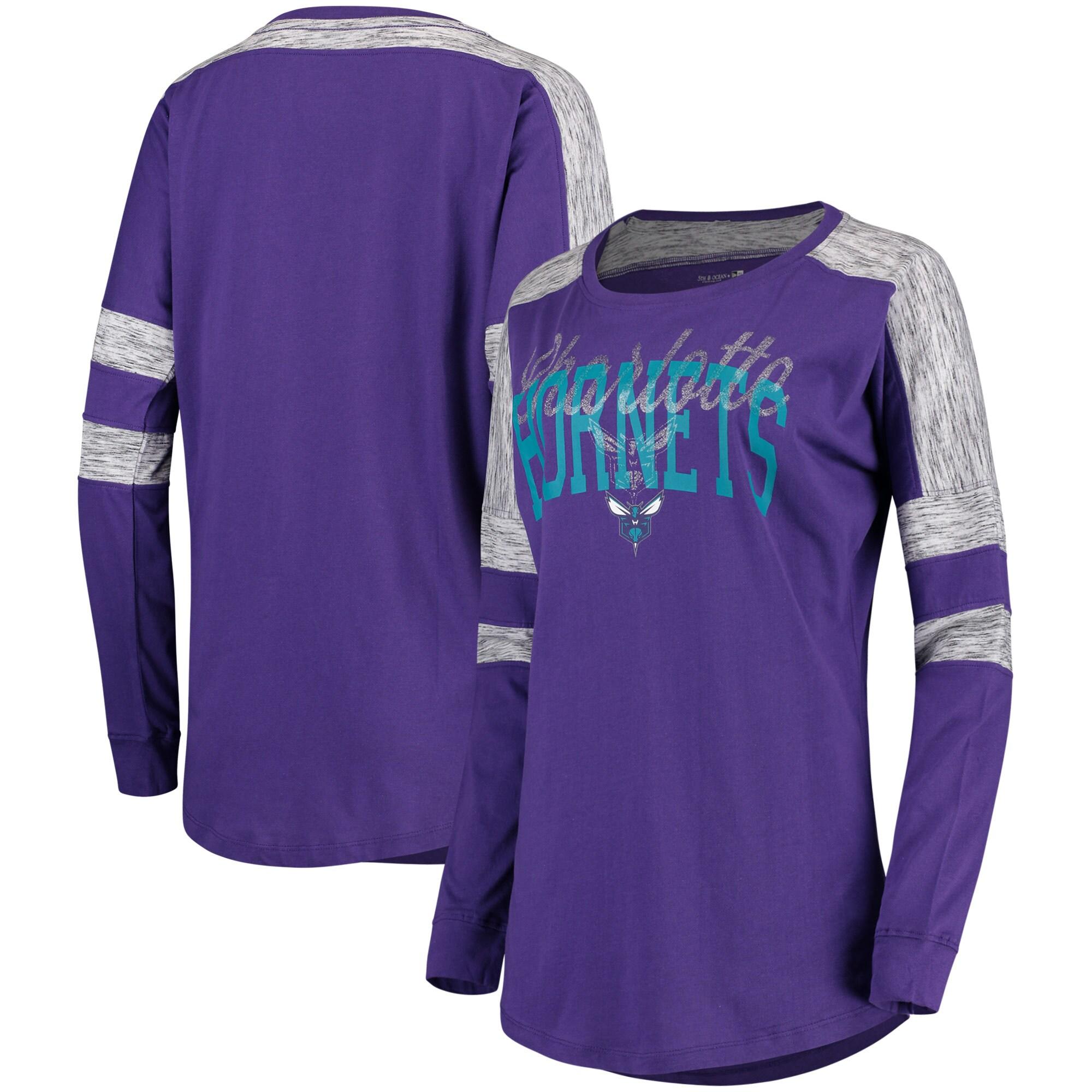Charlotte Hornets 5th & Ocean by New Era Women's Space Dye Baby Jersey Long Sleeve T-Shirt - Purple