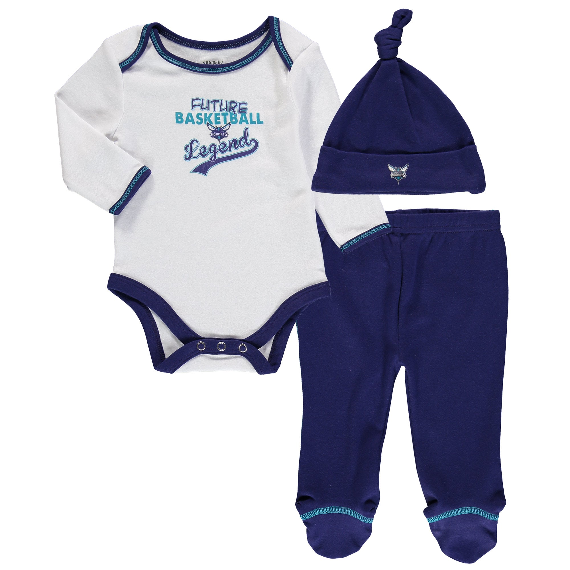 Charlotte Hornets Newborn & Infant Future Legend Bodysuit, Pant and Hat Set - Purple