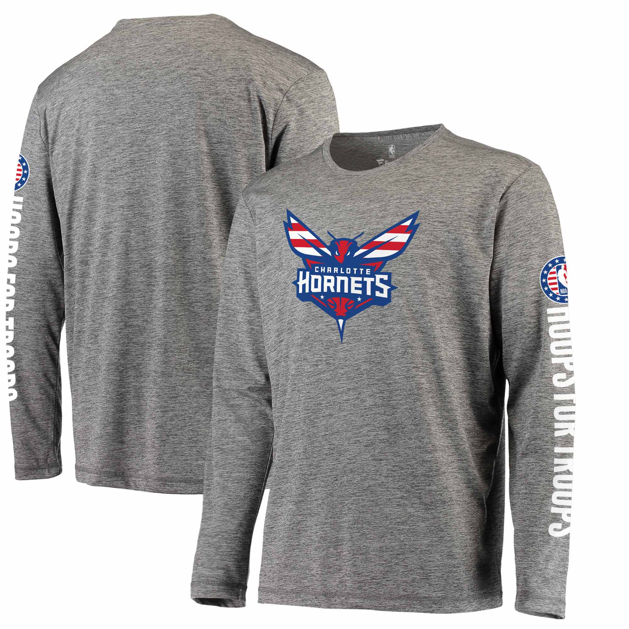 Charlotte Hornets Fanatics Branded Hoops for Troops Long Sleeve T-Shirt - Heathered Gray