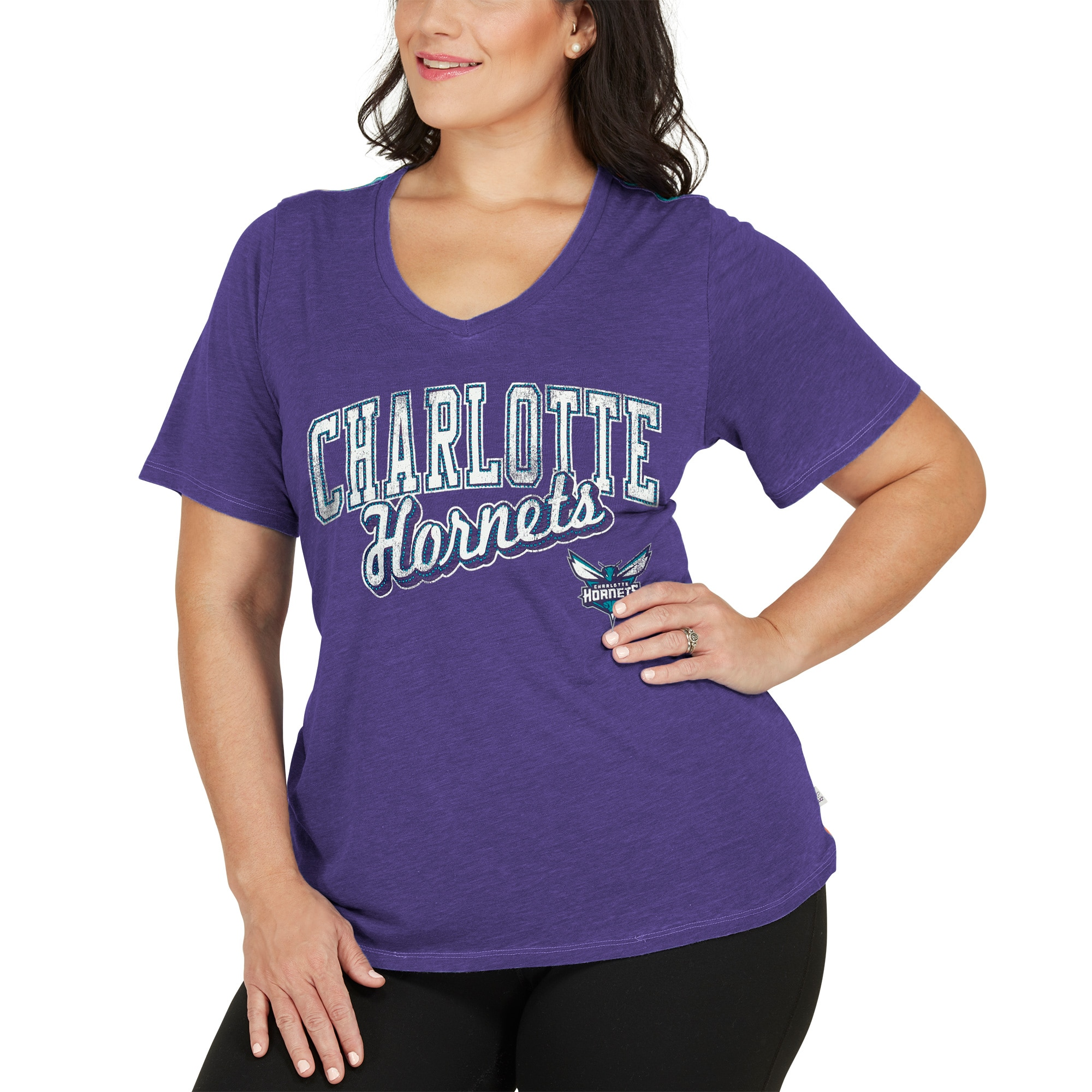 Charlotte Hornets Touch by Alyssa Milano Women's Plus Size Star Player T-Shirt - Purple