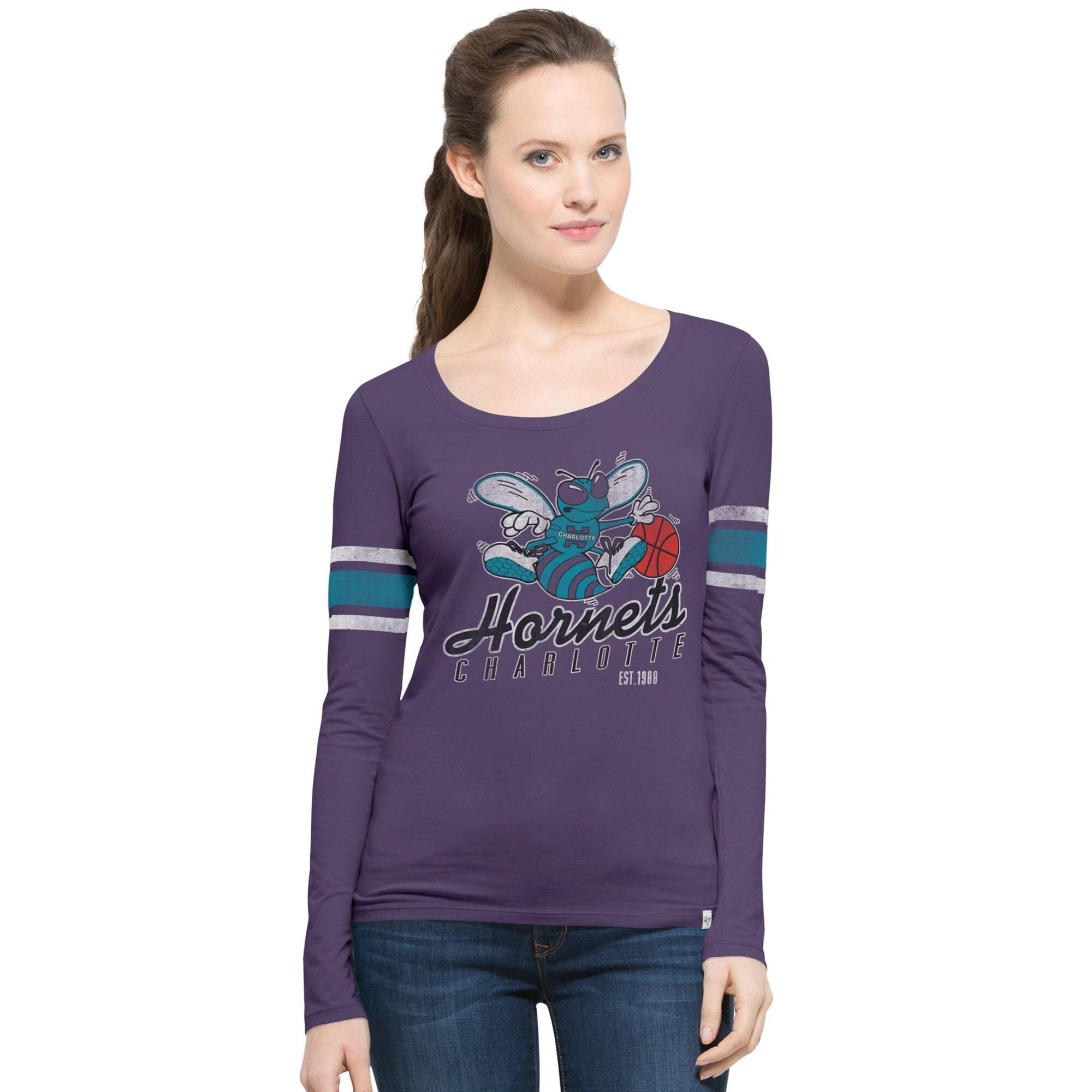 Charlotte Hornets '47 Women's Hardwood Classics Three Point Long Sleeve T-Shirt - Purple