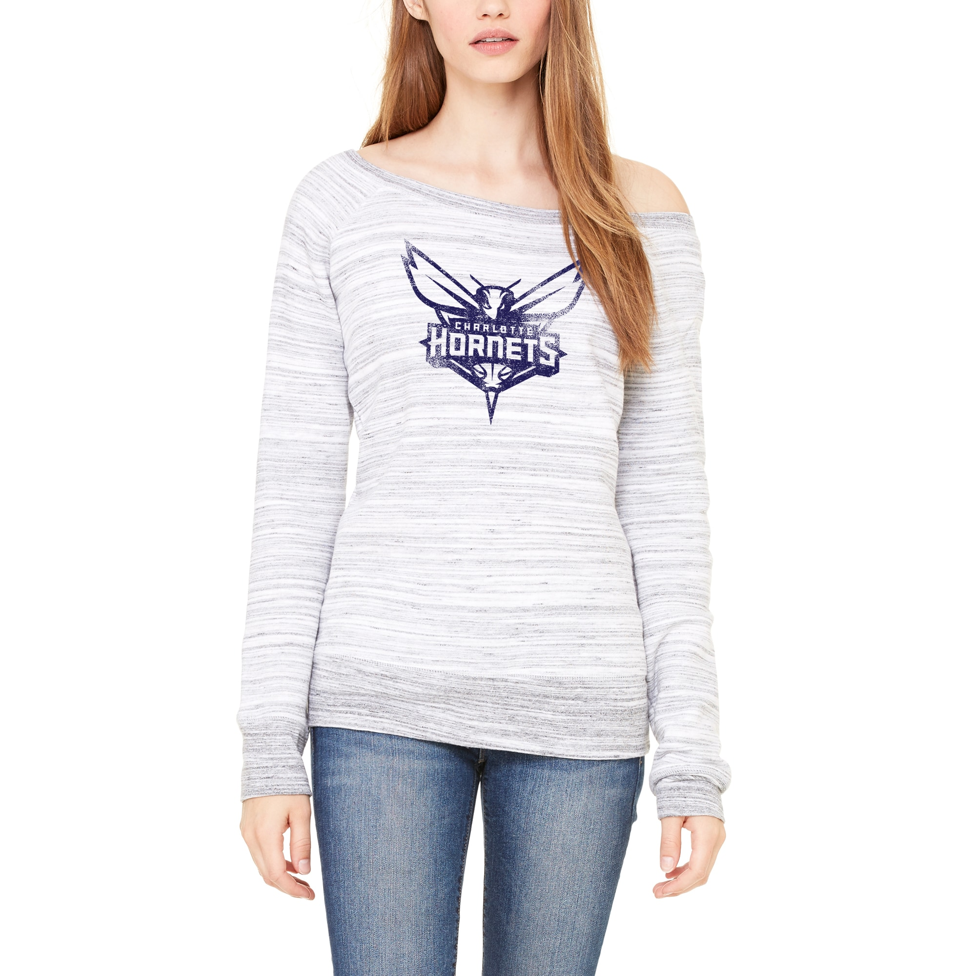 Charlotte Hornets Let Loose by RNL Women's Game Day Wide Neck Sweatshirt - Ash