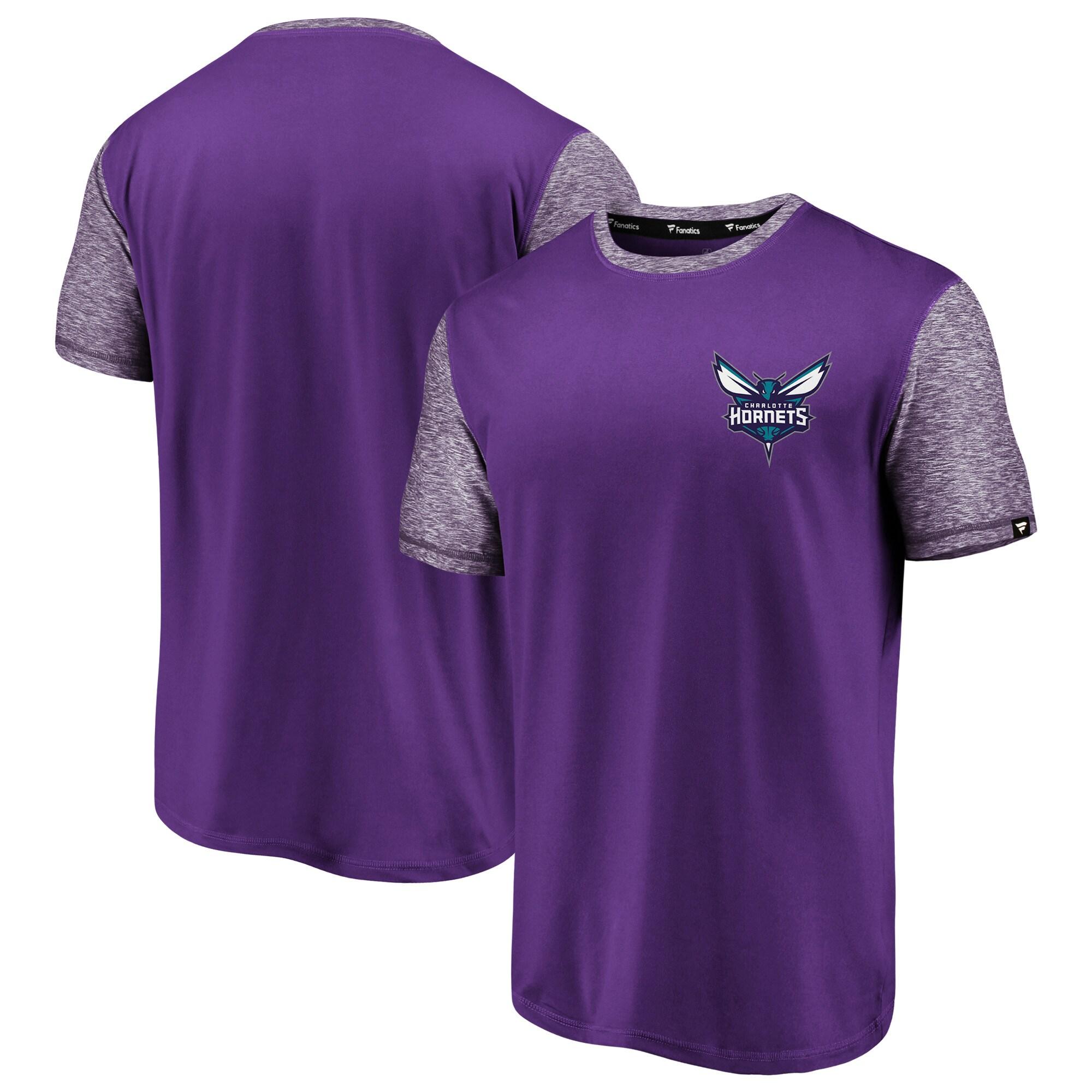 Charlotte Hornets Fanatics Branded Made to Move Static Performance T-Shirt - Purple/Heathered Purple