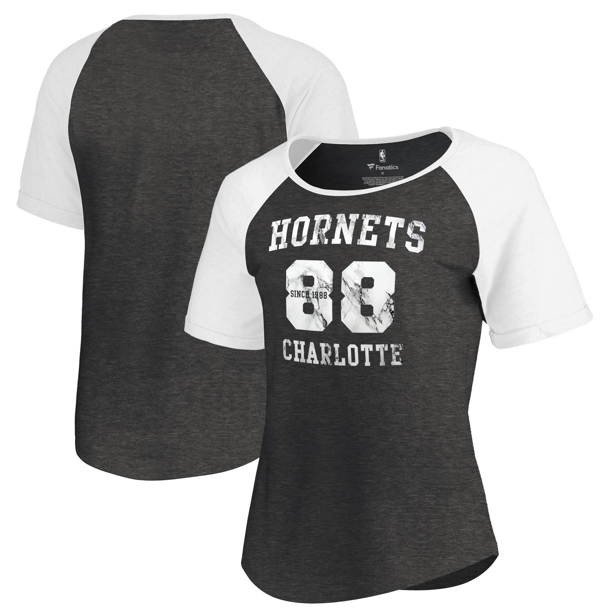 Charlotte Hornets Fanatics Branded Women's Hang Time Short Sleeve Raglan T-Shirt - Black