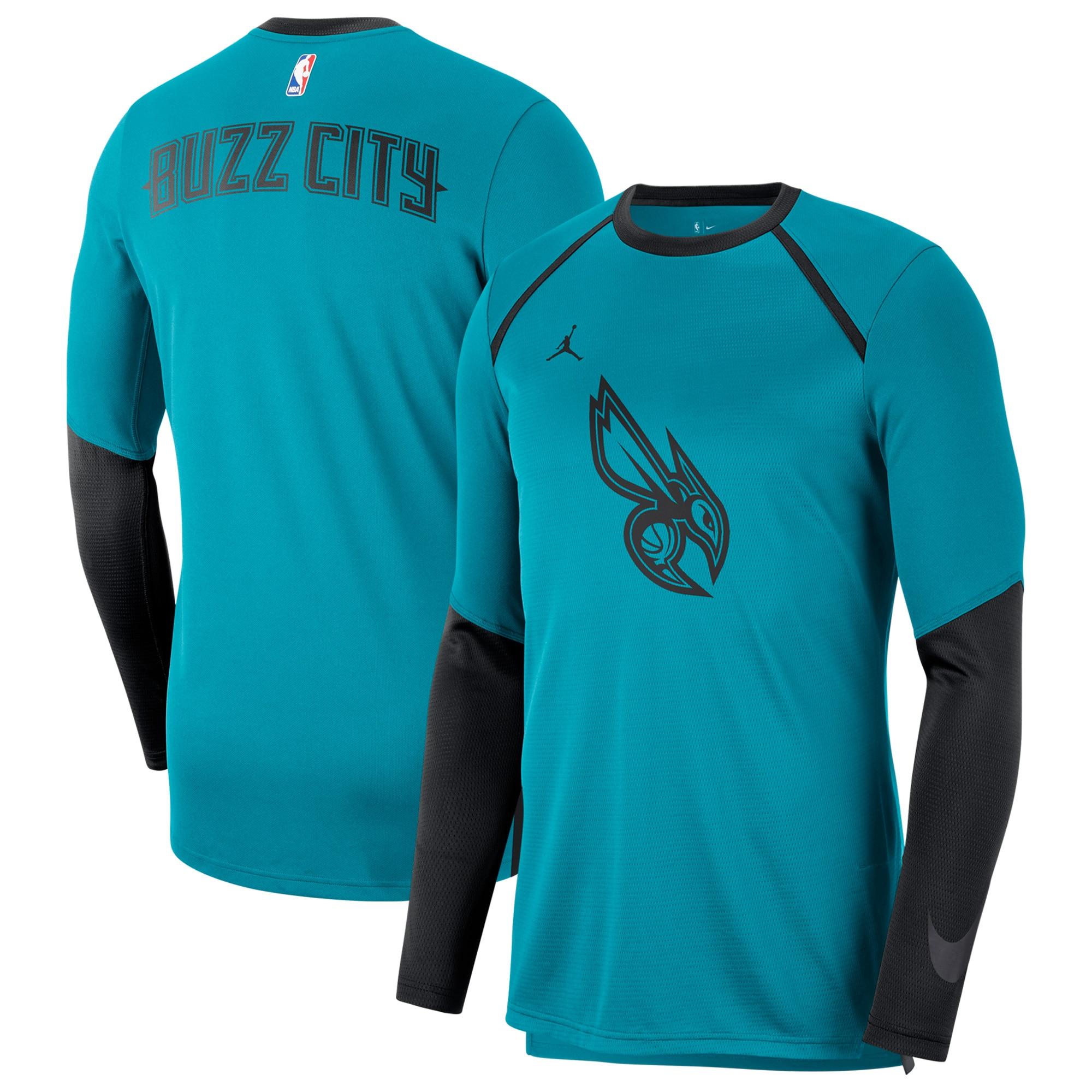 Charlotte Hornets Jordan Brand City Edition Long Sleeve Shooting T-Shirt - Aqua