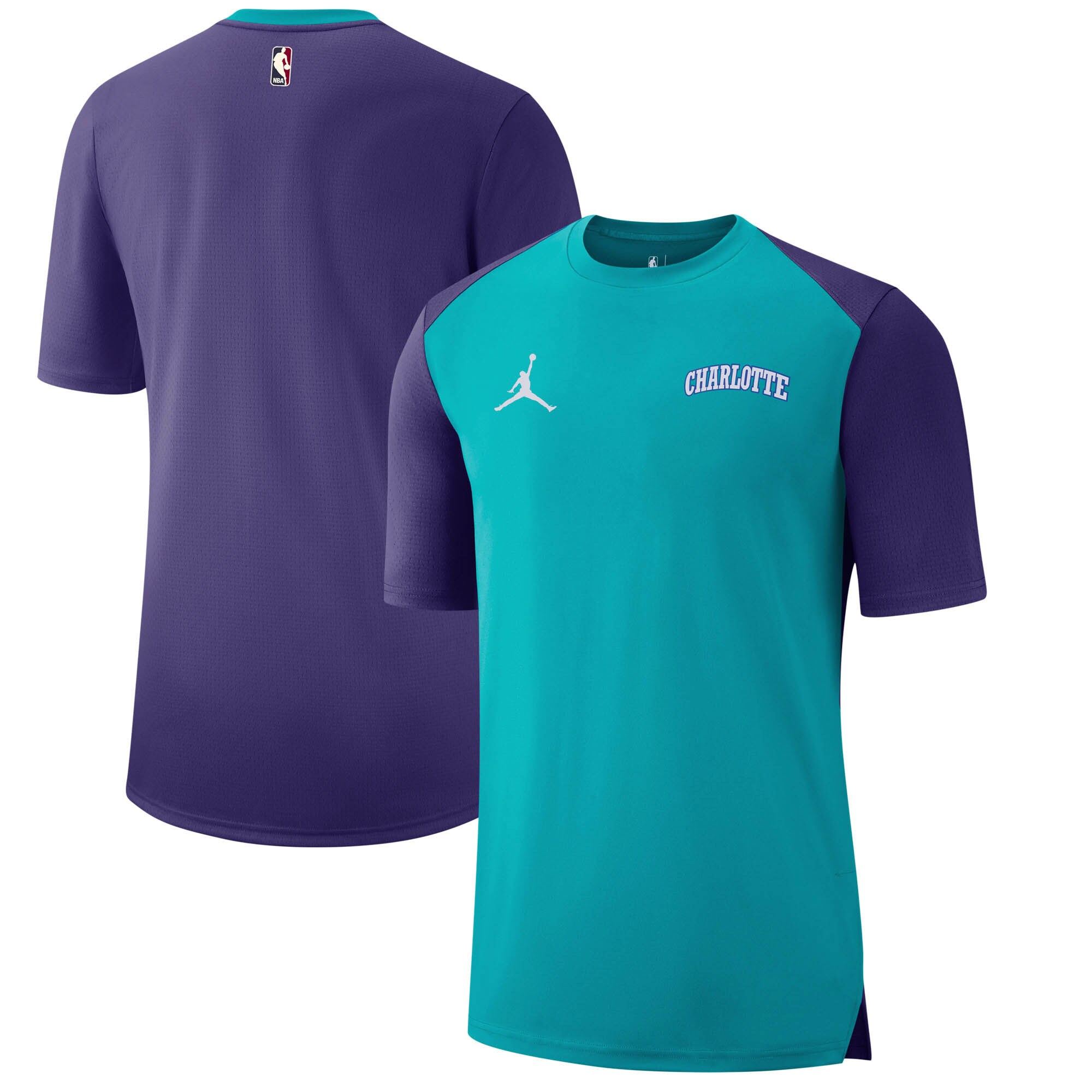 Charlotte Hornets Jordan Brand Hardwood Classics Hyper Elite Shooting T-Shirt - Aqua