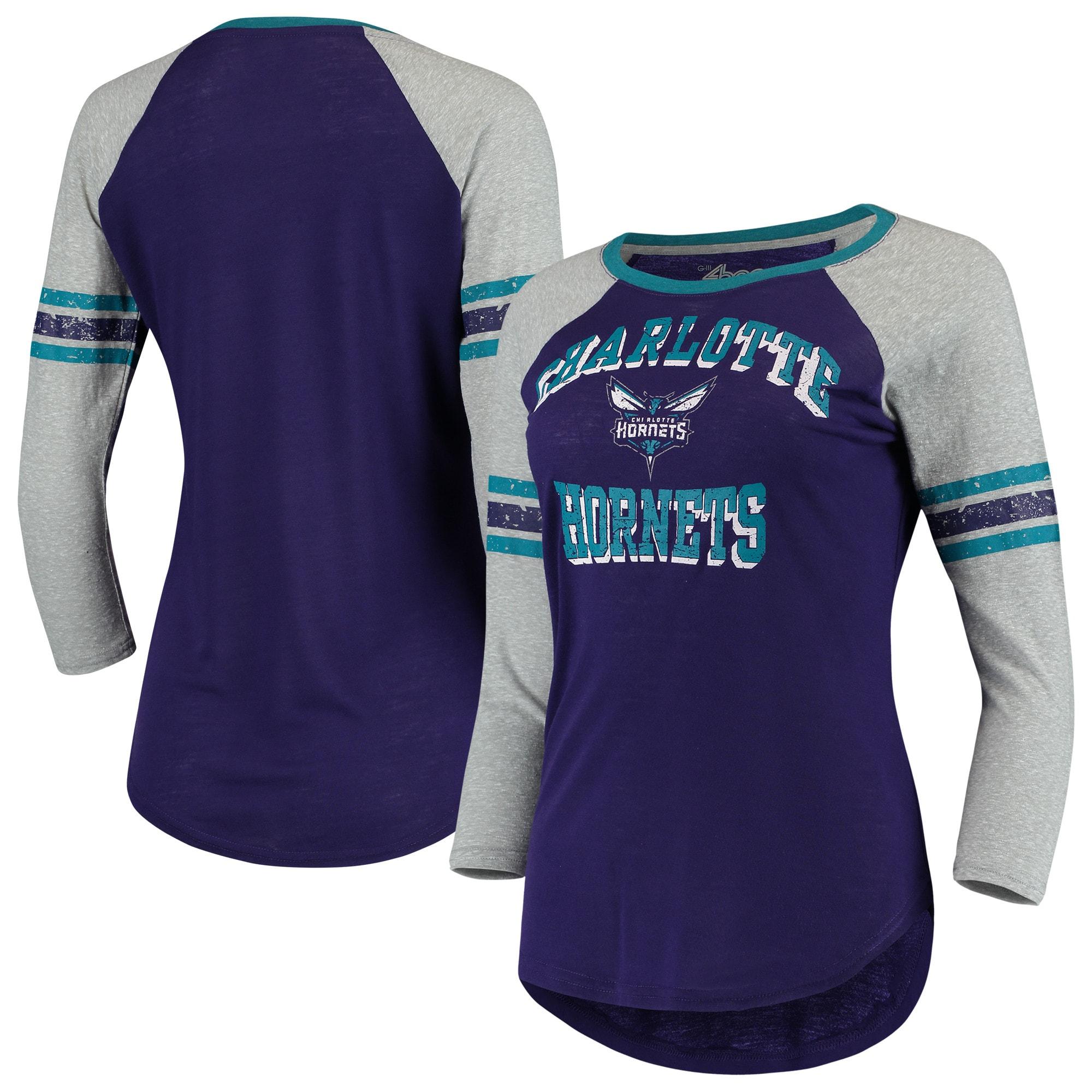 Charlotte Hornets G-III 4Her by Carl Banks Women's The Court Tri-Blend Raglan 3/4-Sleeve T-Shirt - Purple/Heathered Gray