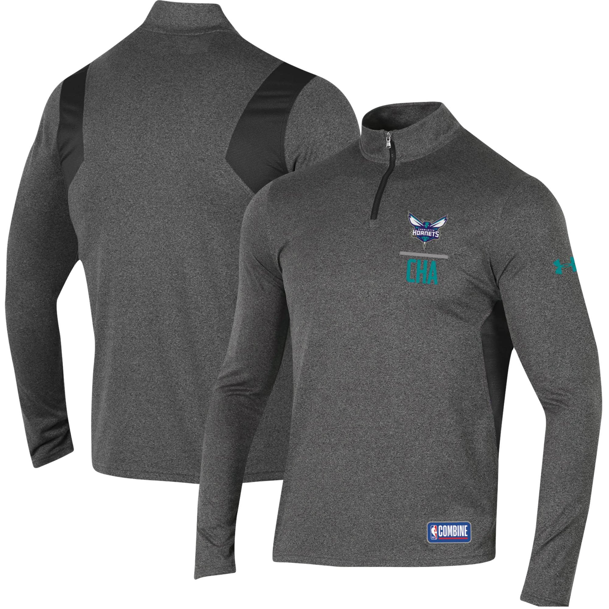 Charlotte Hornets Under Armour Combine Authentic Season Tech Quarter-Zip Pullover Jacket - Heathered Charcoal
