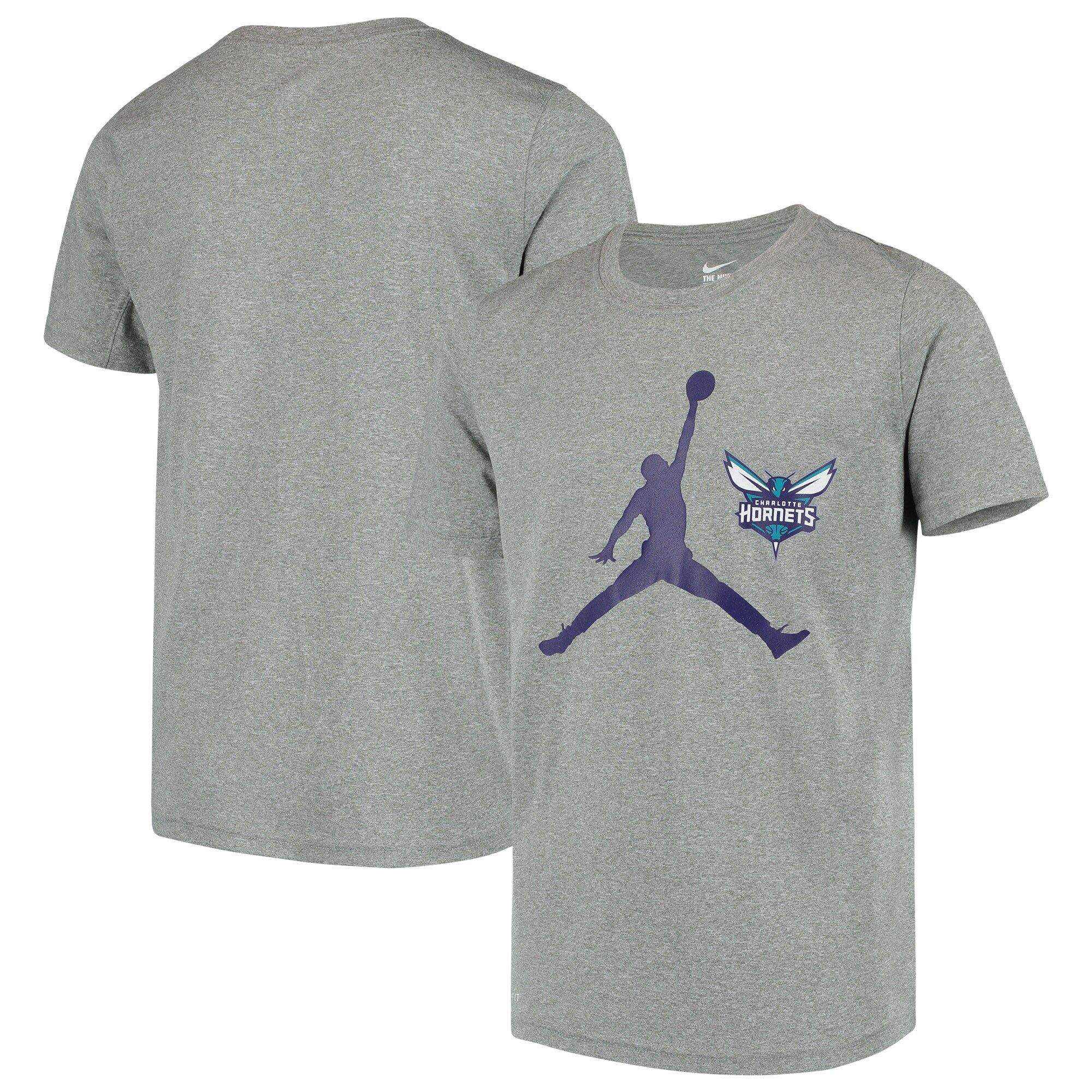 Charlotte Hornets Jordan Brand Youth Swoosh Logo Legend T-Shirt - Heathered Gray