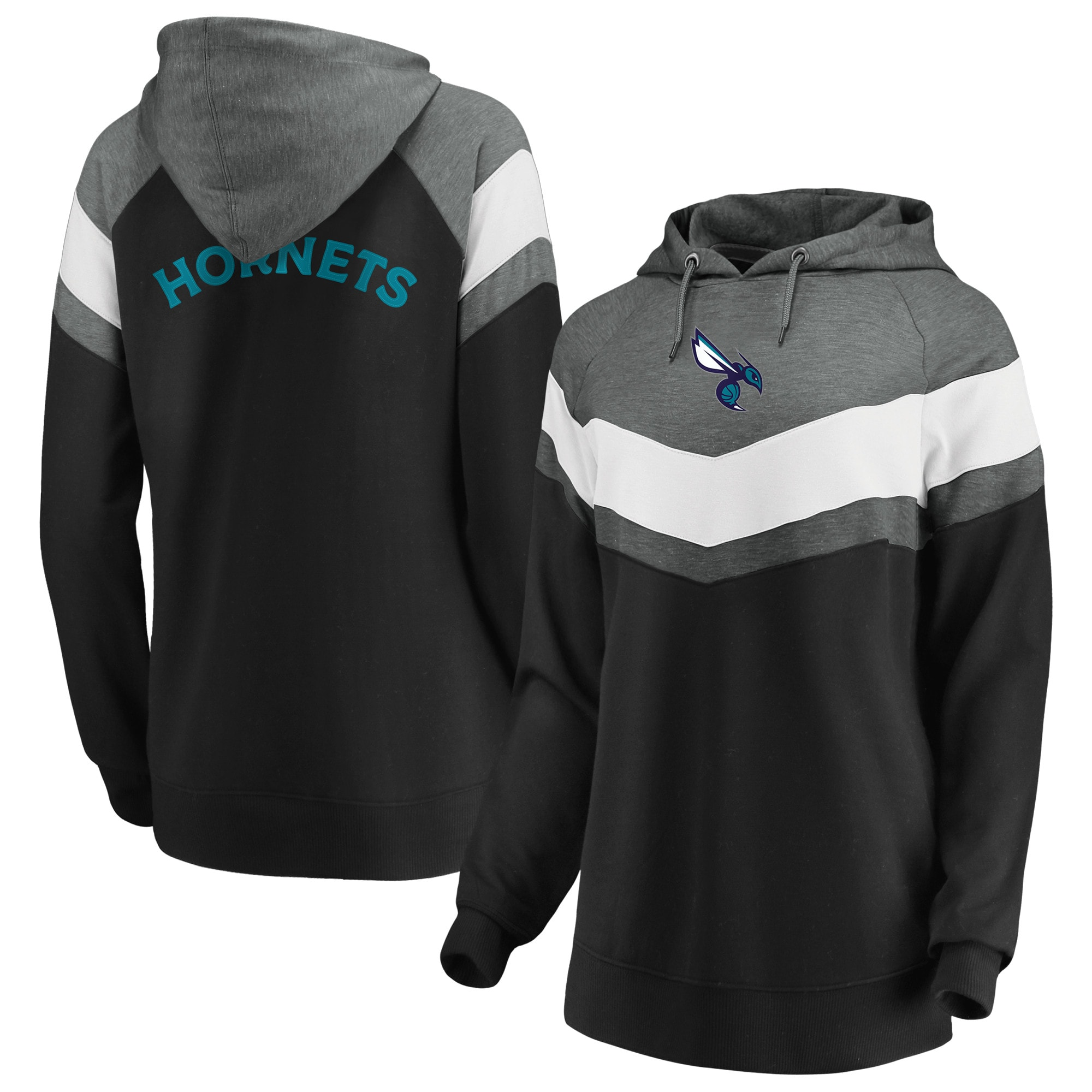 Charlotte Hornets Fanatics Branded Women's True Classics Go All Out Chevron Pullover Hoodie - Gray/Black