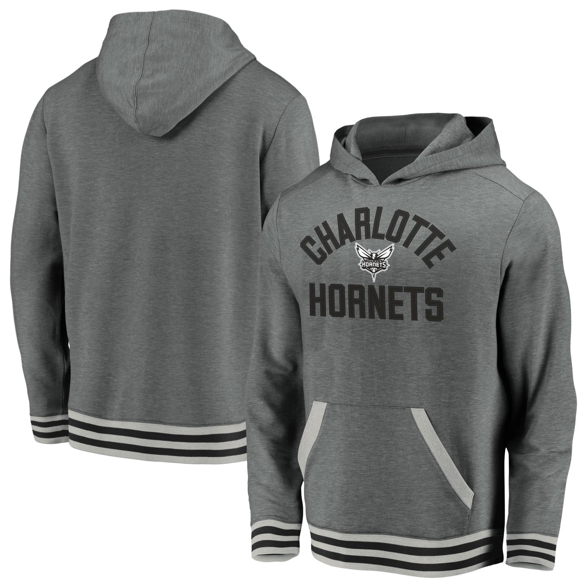 Charlotte Hornets Fanatics Branded True Classics Vintage Upperclassman Tri-Blend Pullover Hoodie - Gray