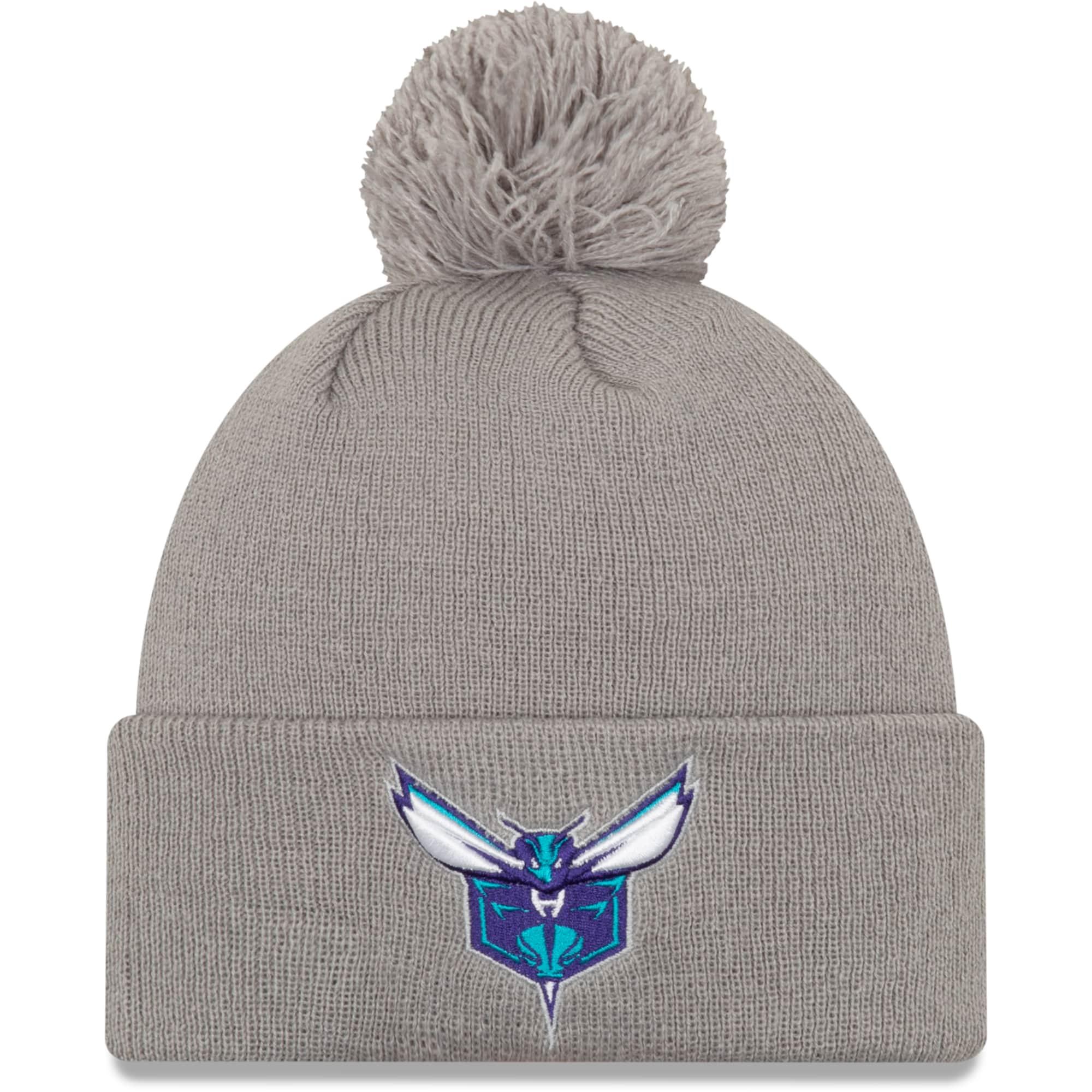 Charlotte Hornets New Era 2019/20 City Edition Pom Knit Hat - Gray