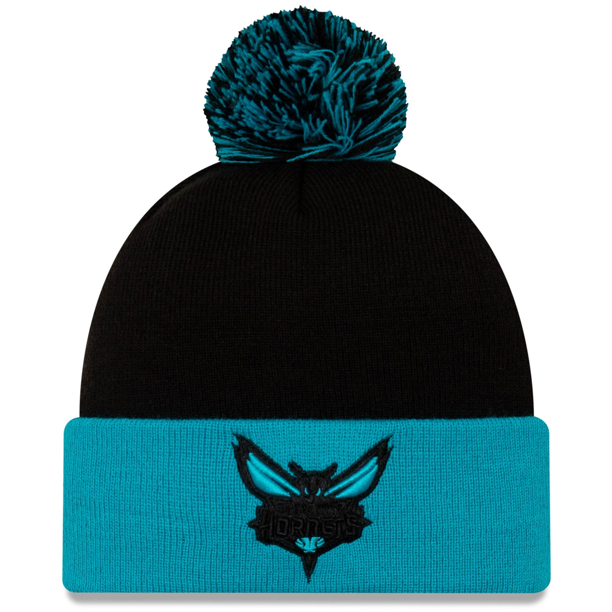 Charlotte Hornets New Era Cuffed Knit Hat with Pom - Black/Teal