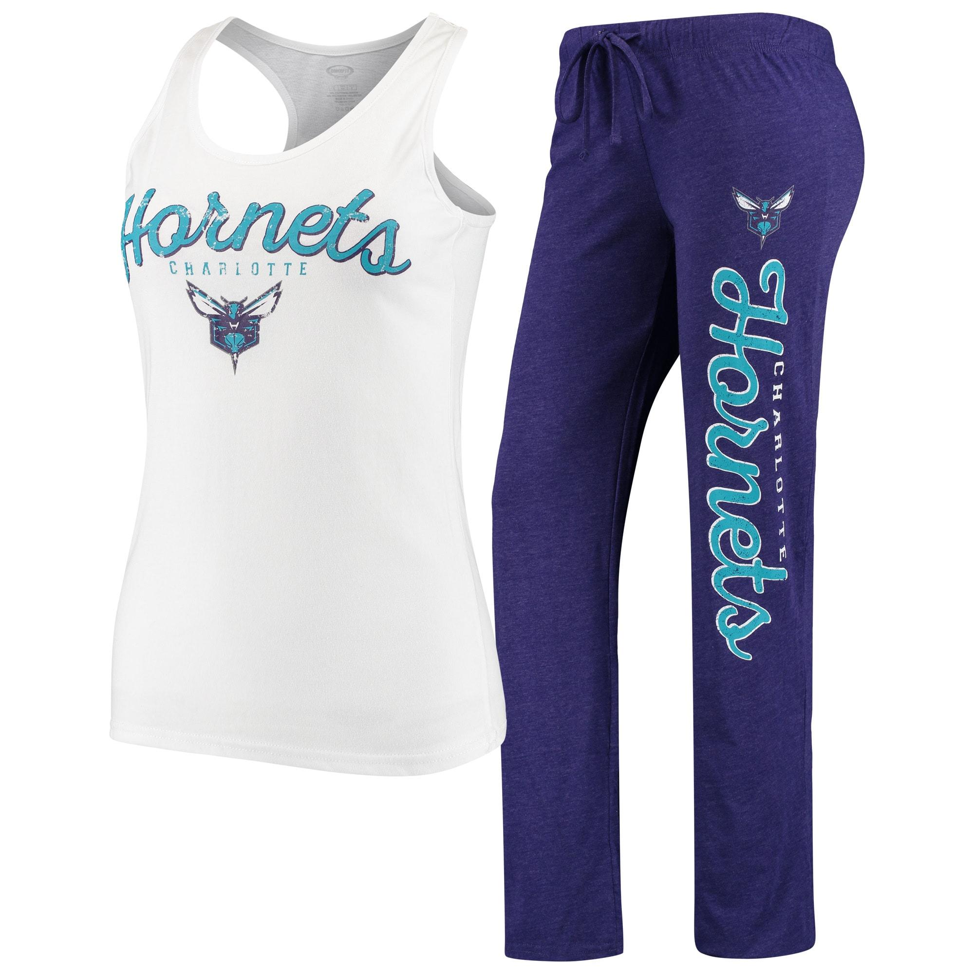 Charlotte Hornets Concepts Sport Women's Topic Tank Top & Pants Sleep Set - White/Purple