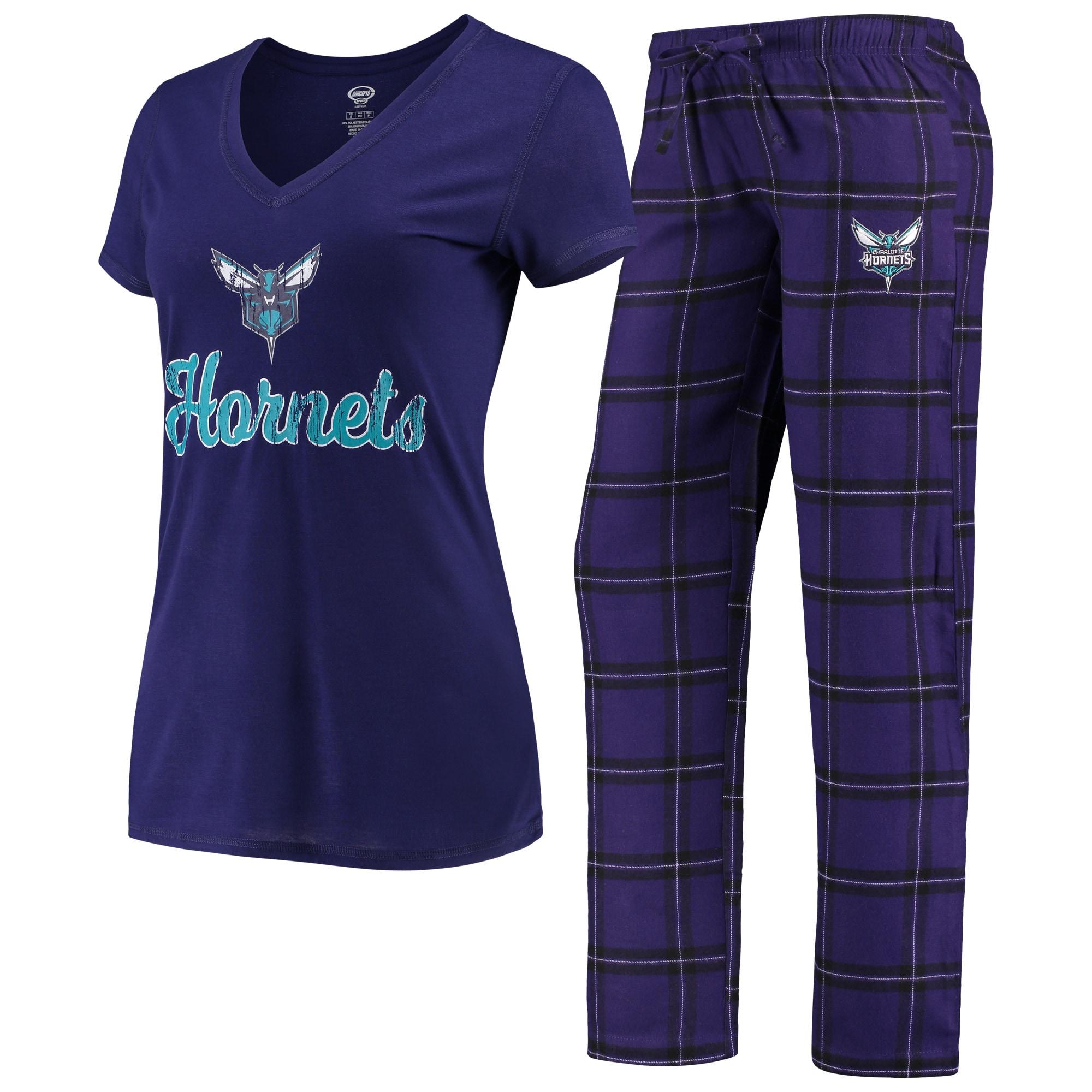 Charlotte Hornets Concepts Sport Women's Troupe V-Neck T-Shirt & Pants Sleep Set - Purple