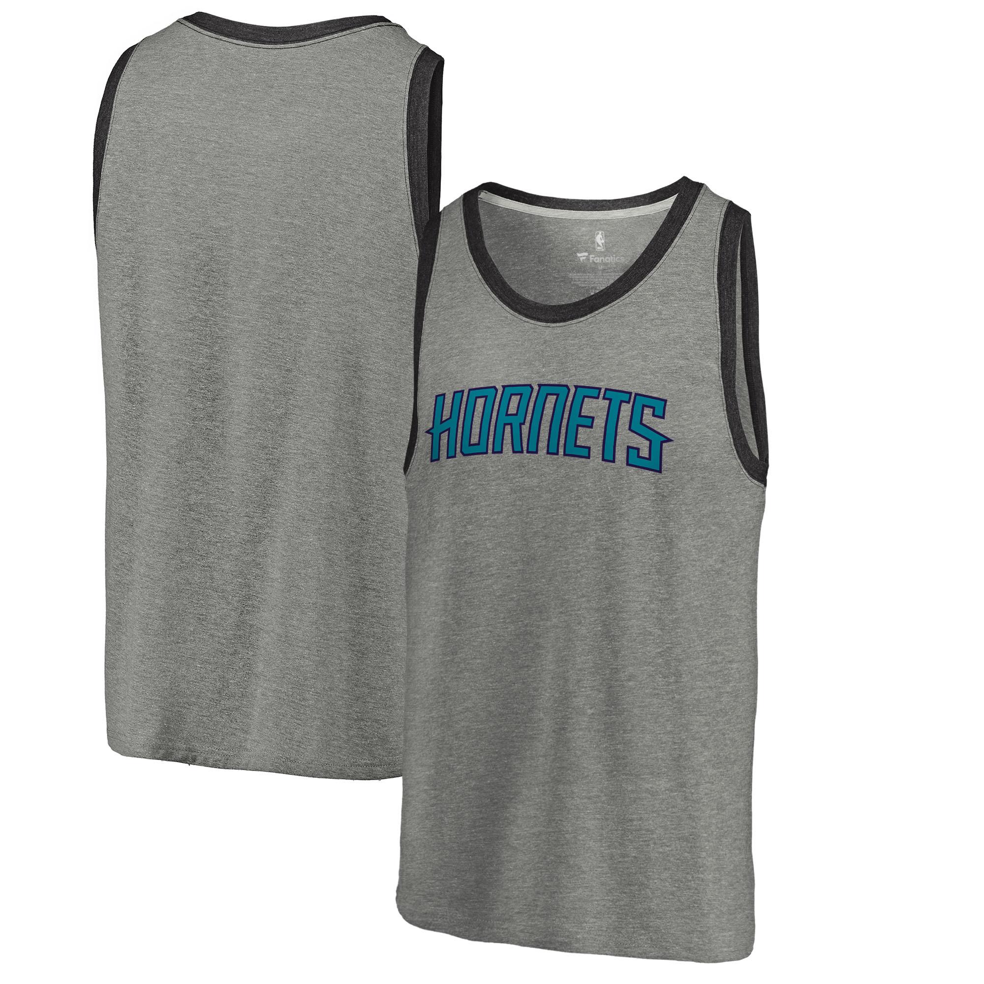 Charlotte Hornets Fanatics Branded Wordmark Tri-Blend Tank Top - Heathered Gray